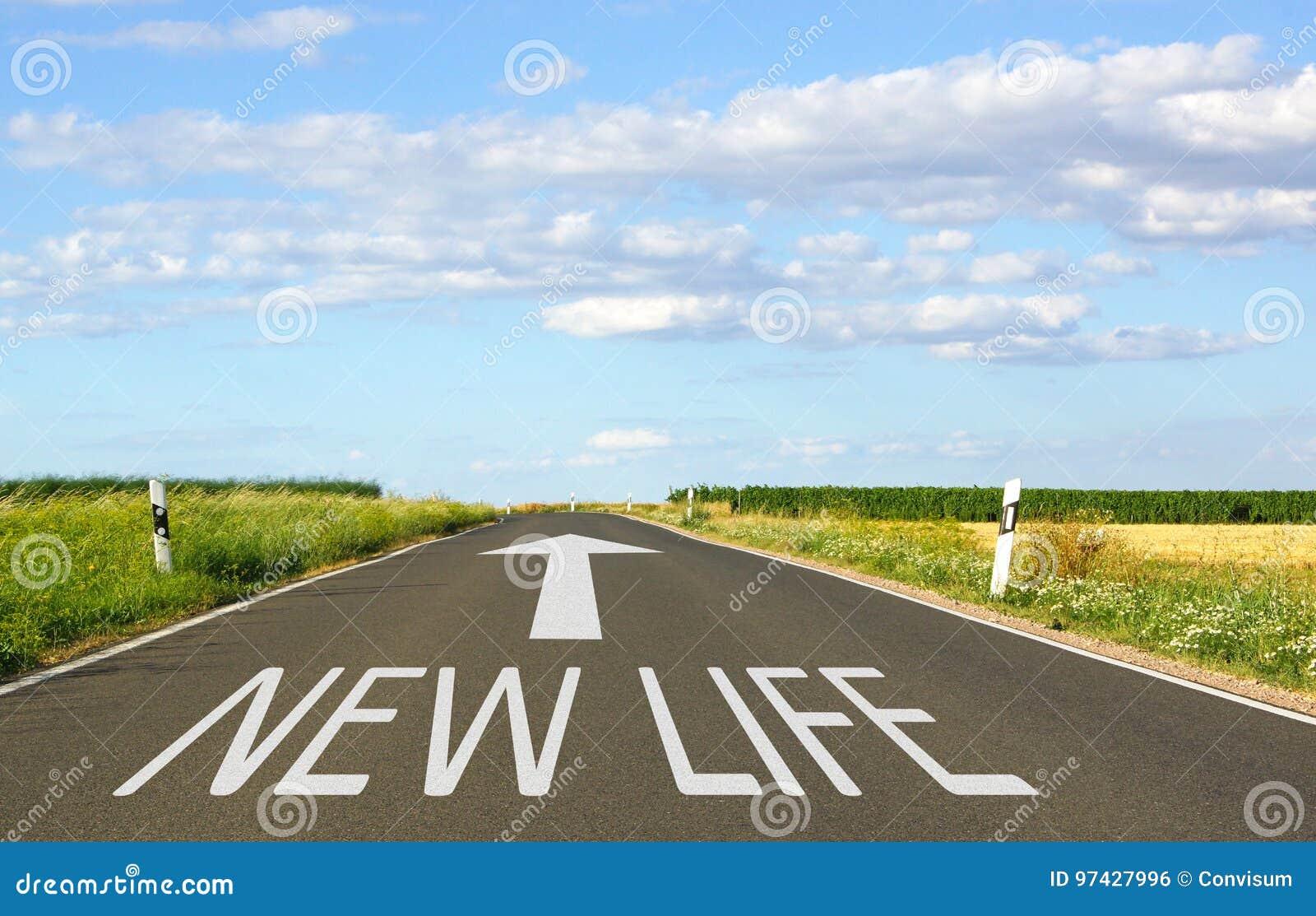 Nueva vida - calle con la flecha y el texto
