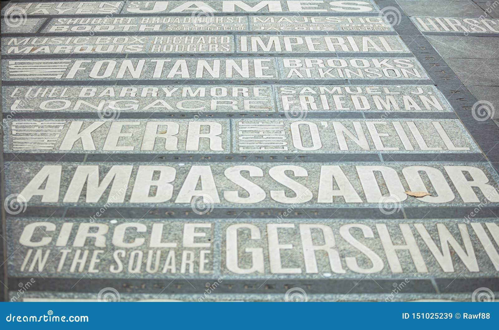 Nueva York, Times Square Mapa de los nombres de los teatros en la tierra