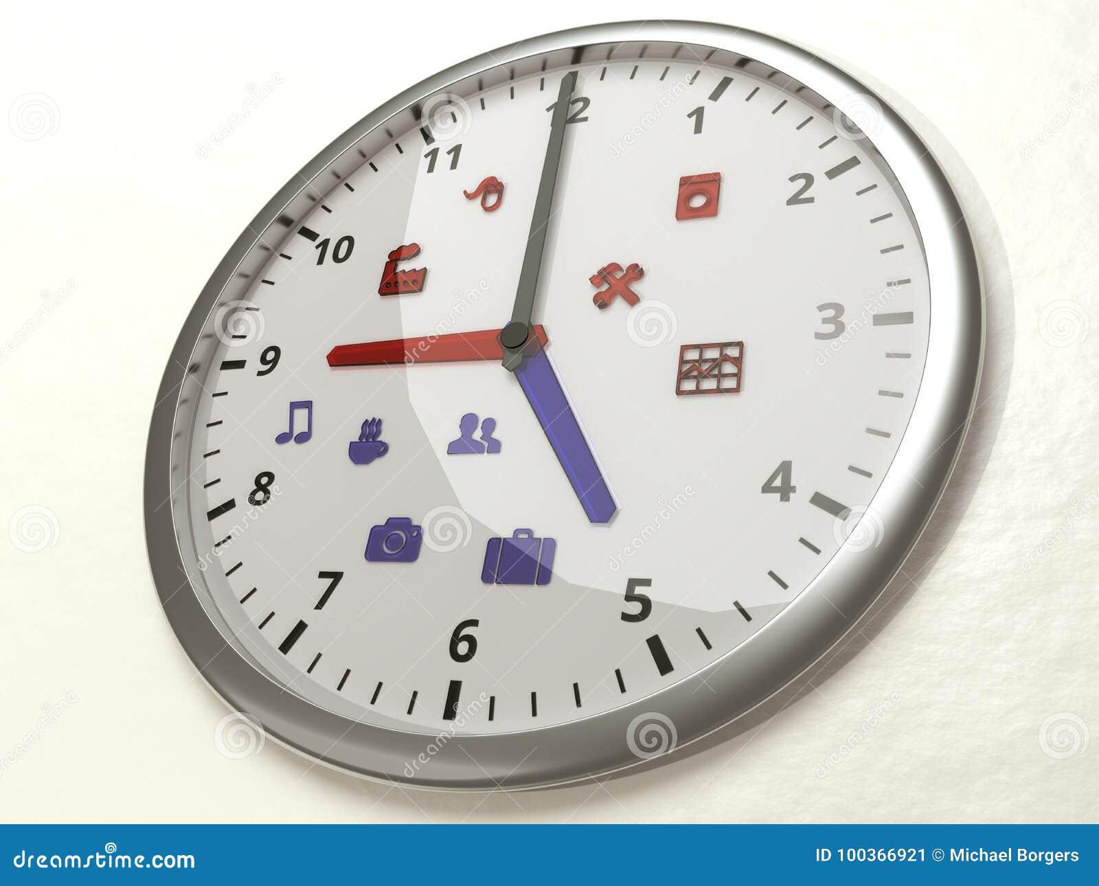 Nueve A Cinco Iconos Trabajan El Reloj Del Concepto De La Balanza De