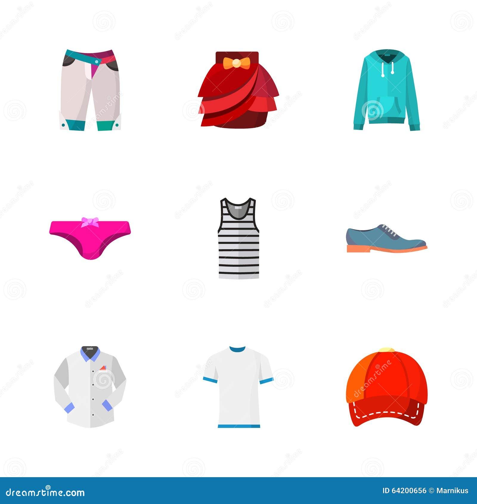 Nueve iconos modernos de la ropa