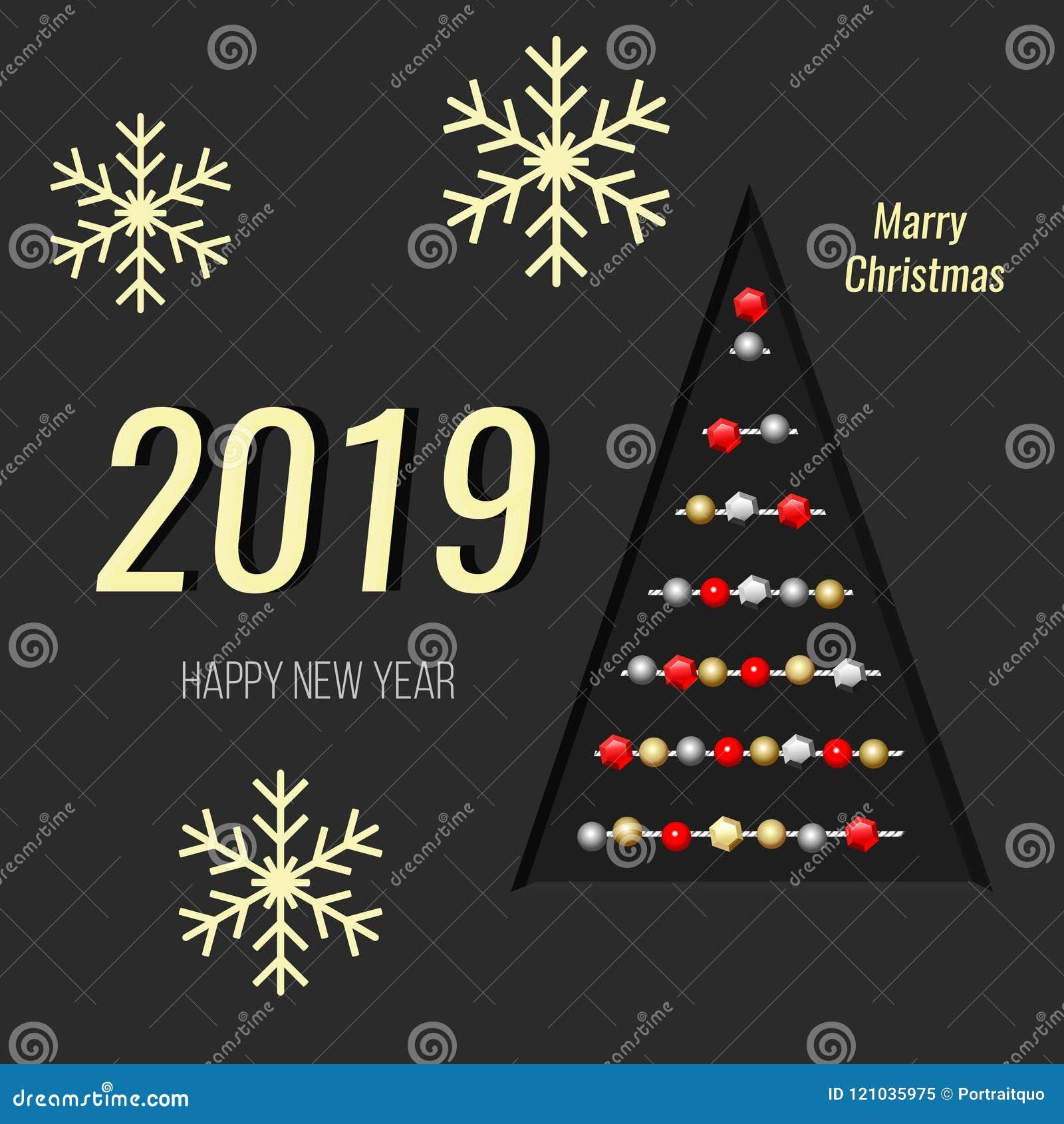 Imagenes De Navidad 2019.Nuevo 2019 Anos Tarjeta De Navidad Arbol De Navidad Y Copos