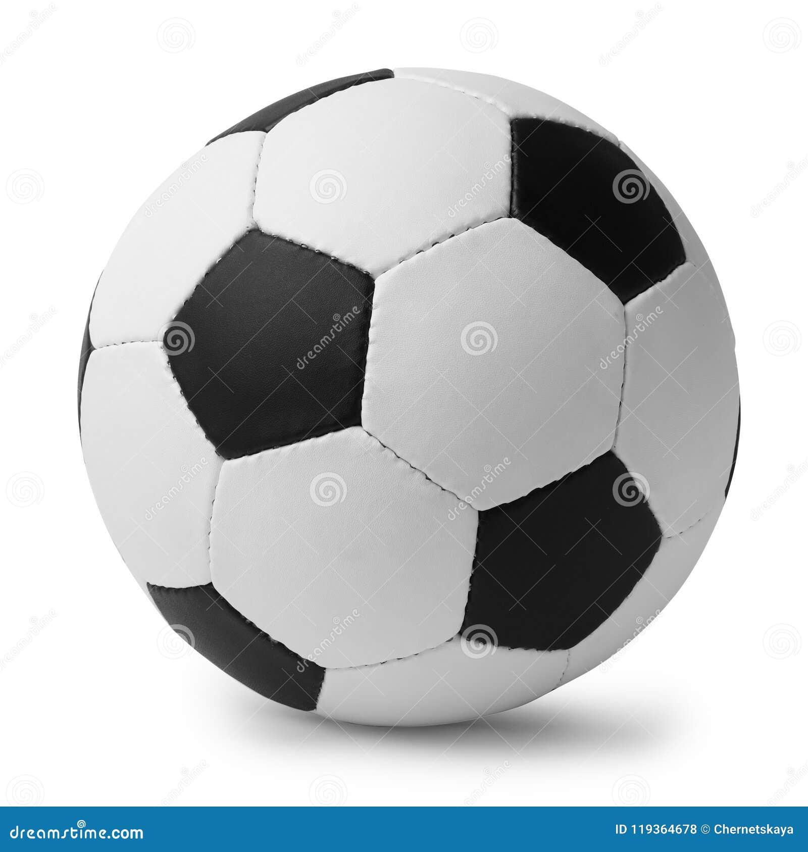 Nuevo balón de fútbol en el fondo blanco