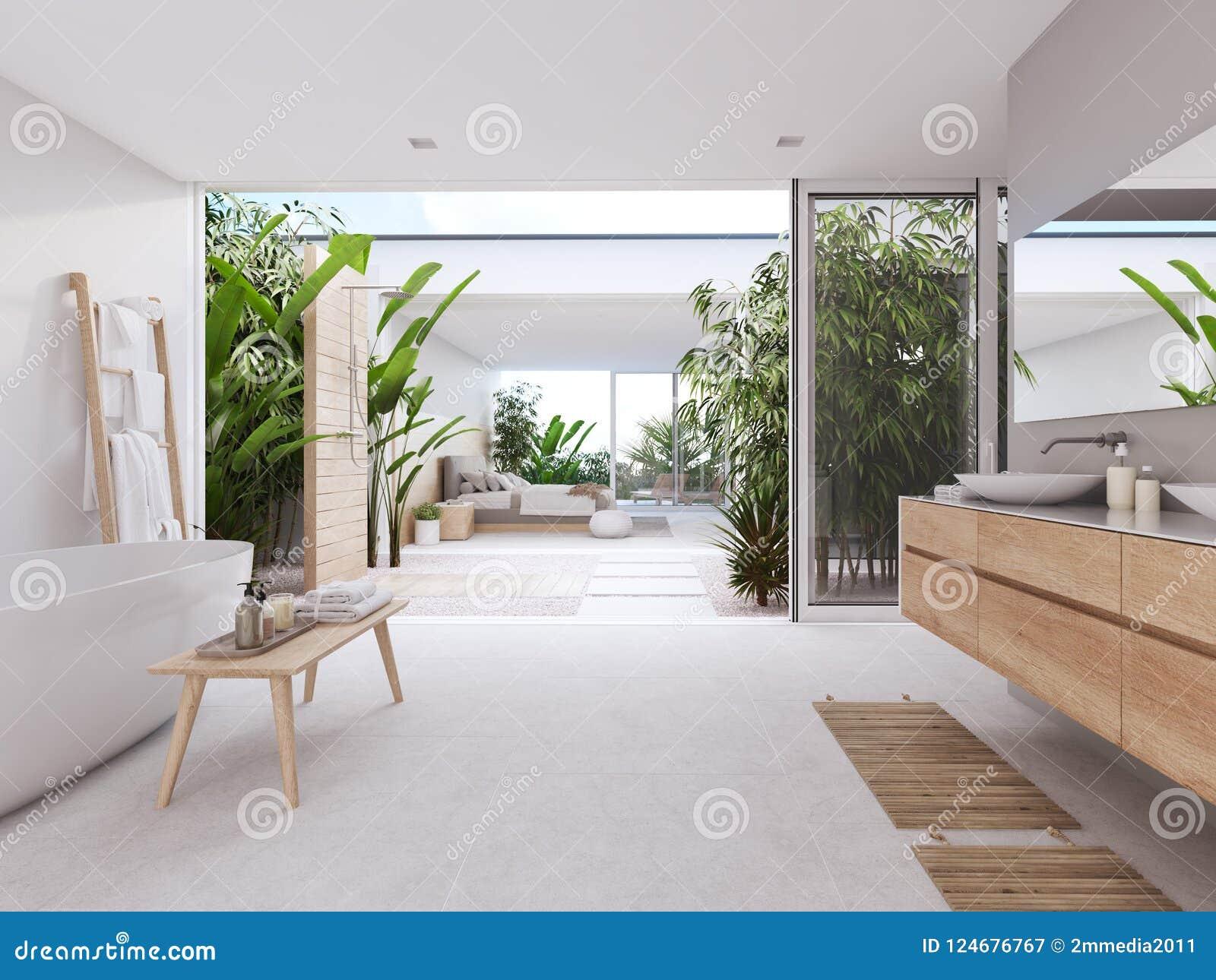 Nuevo Cuarto De Baño Moderno Del Zen Con Las Plantas Tropicales ...