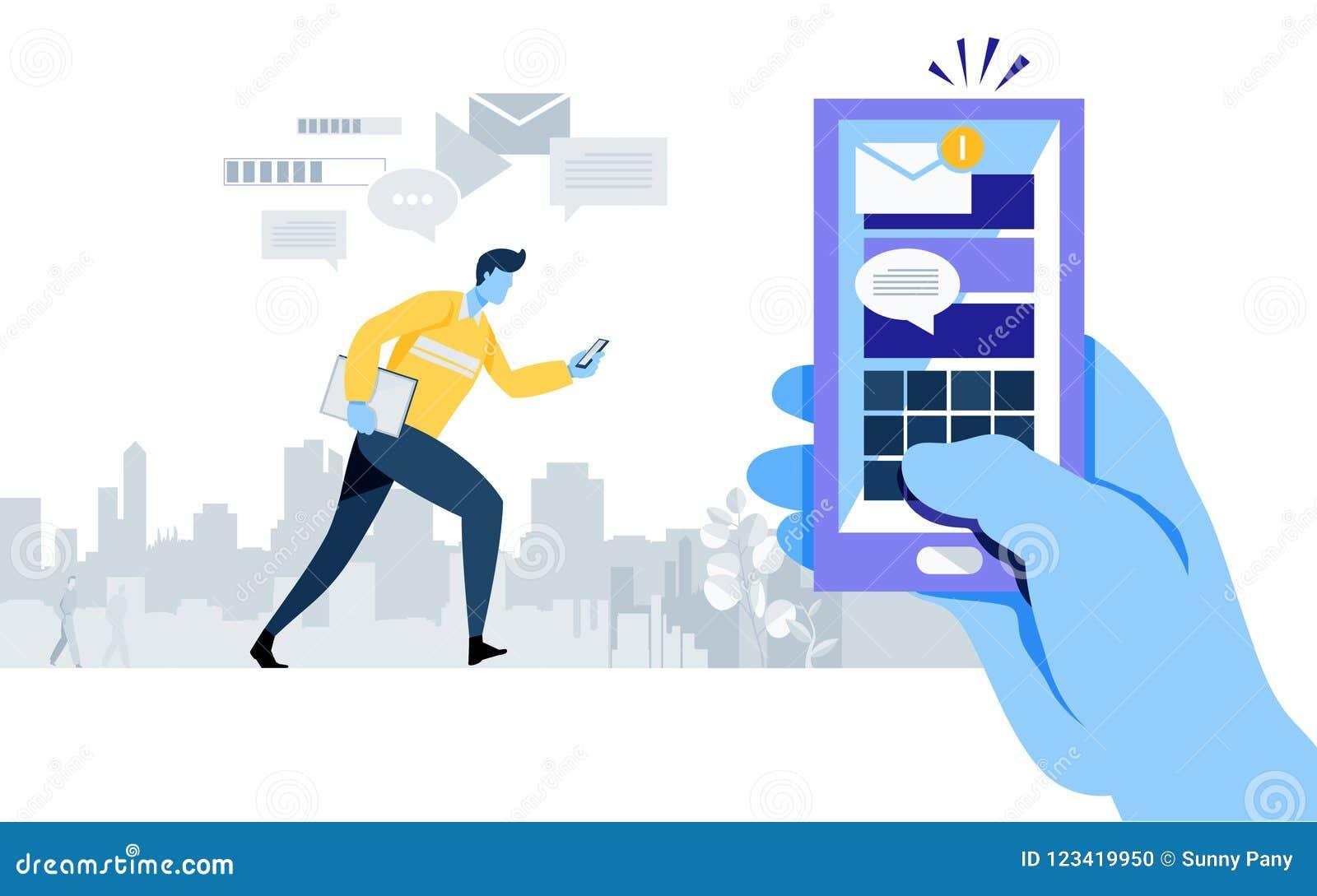 Nuevo email conseguido alarma de la notificación Uso de Smartphone Conexión en línea Envíe el mensaje Media sociales trabajador,