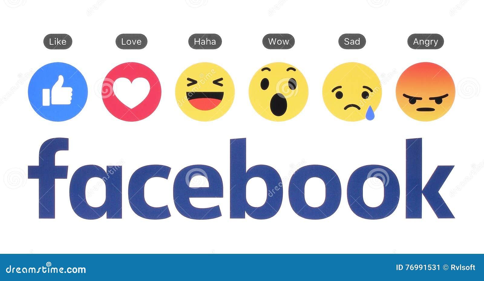 Nuevo logotipo de Facebook con el botón similar y la reacción comprensiva de Emoji