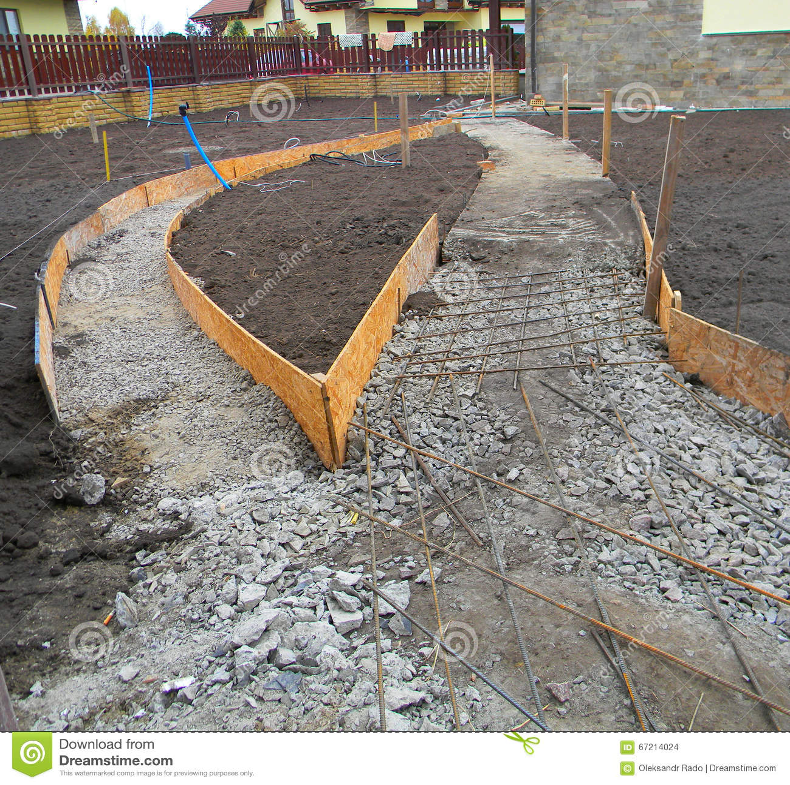 nuevo pavimento concreto el jardn fundacin para pavimentar foto de archivo