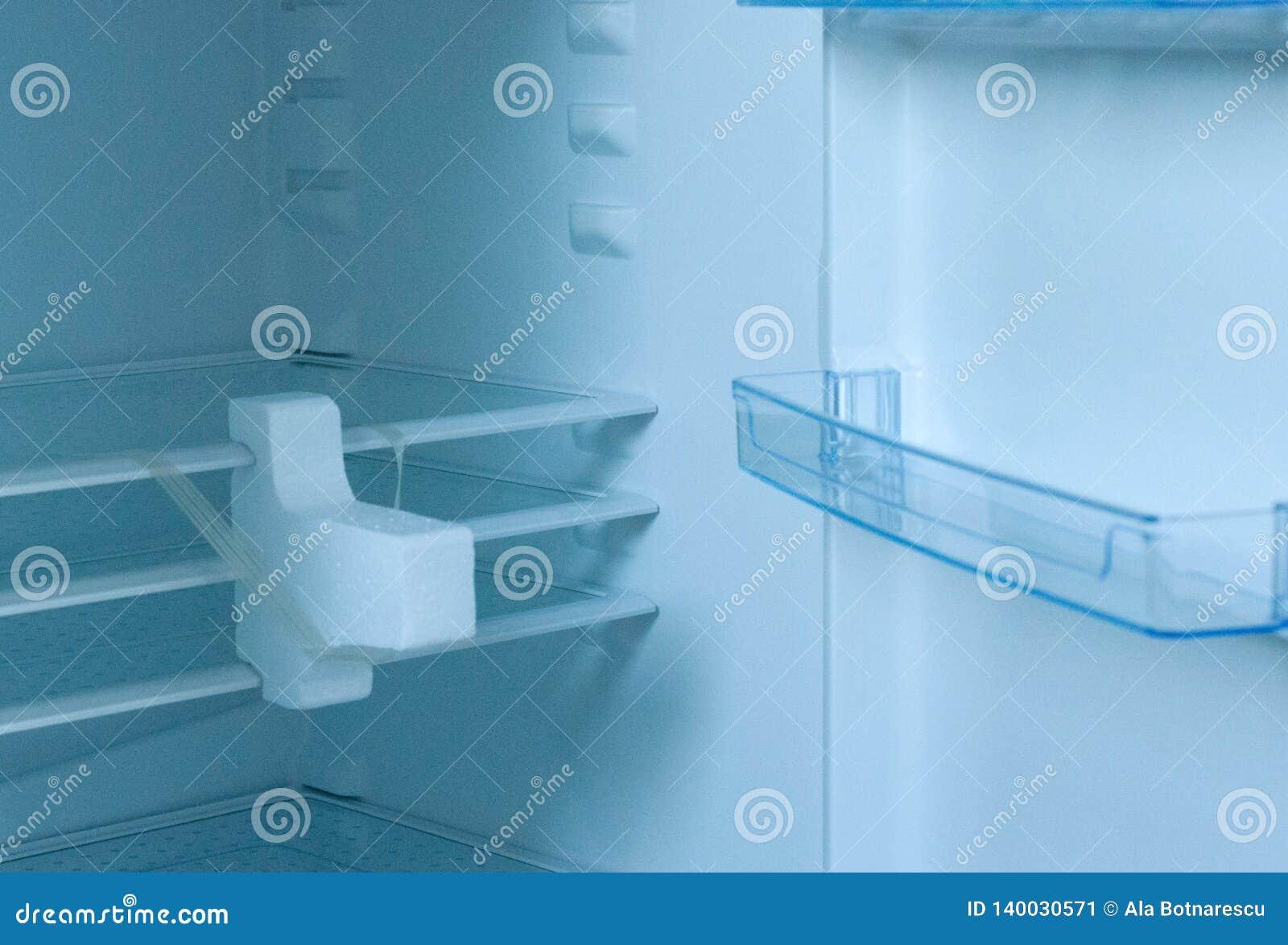 Nuevo refrigirator vacío con la puerta abierta