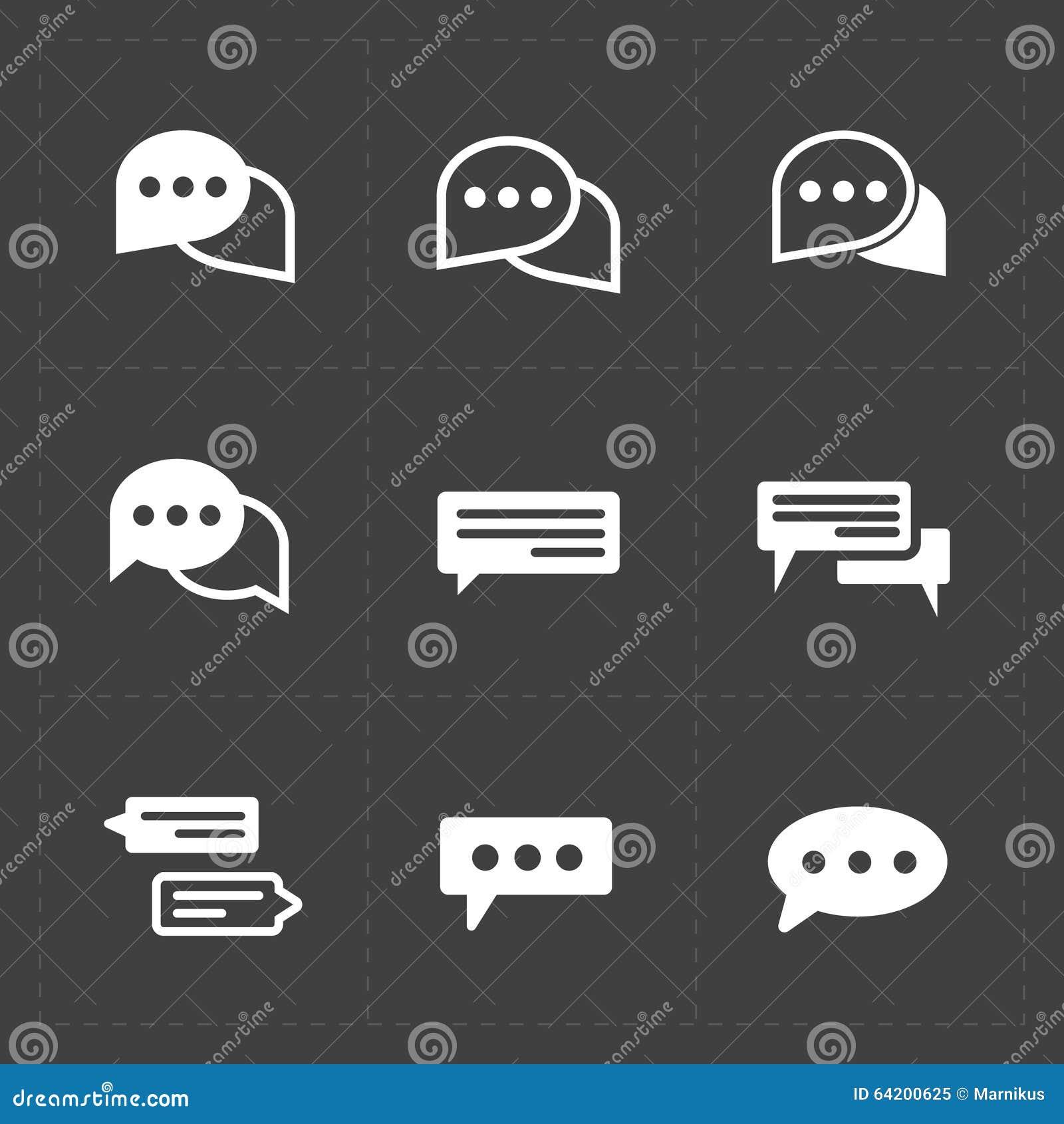 Nuevos iconos modernos de la burbuja del discurso en fondo negro