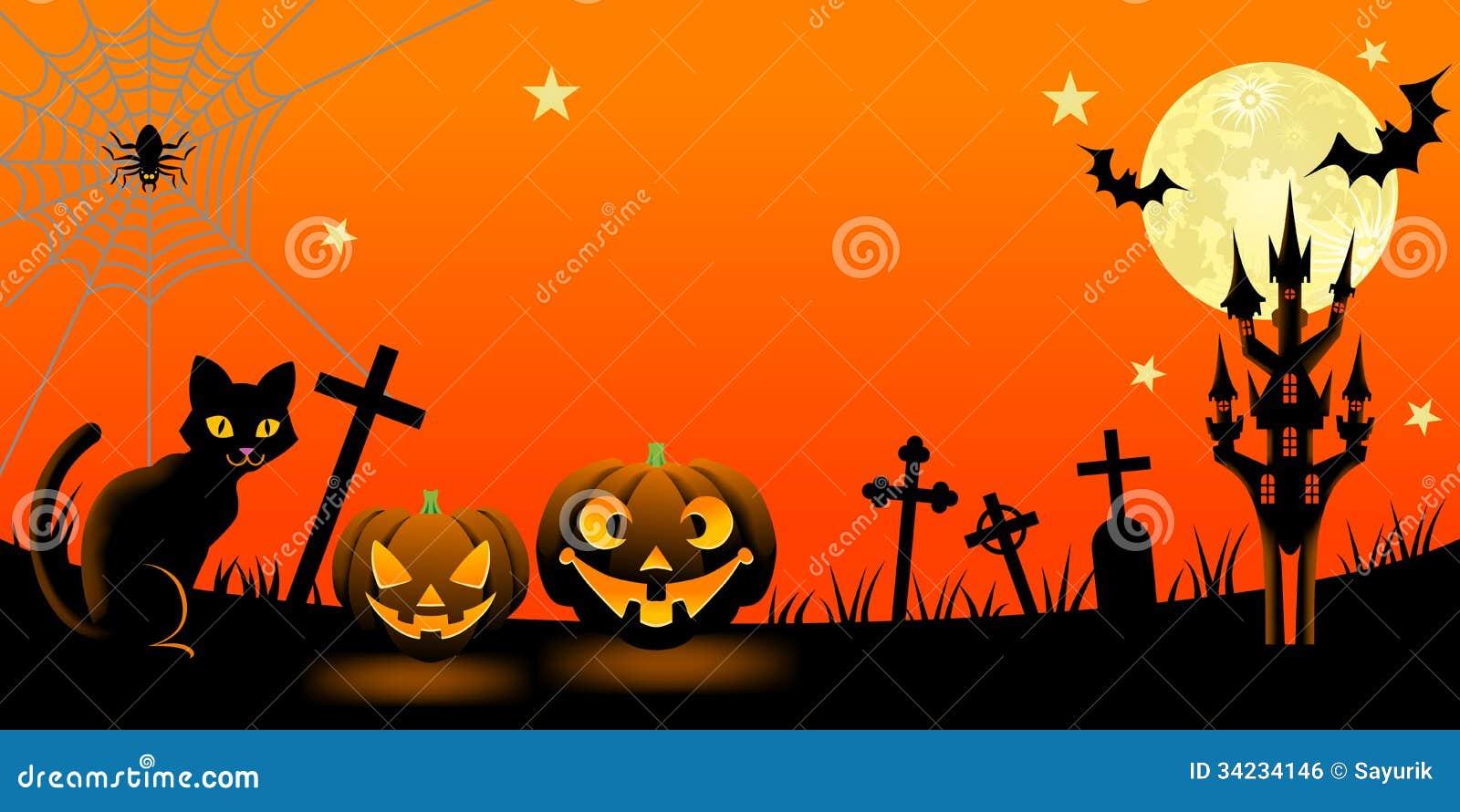 nuit de halloween avec le chat noir illustration de vecteur image 34234146. Black Bedroom Furniture Sets. Home Design Ideas