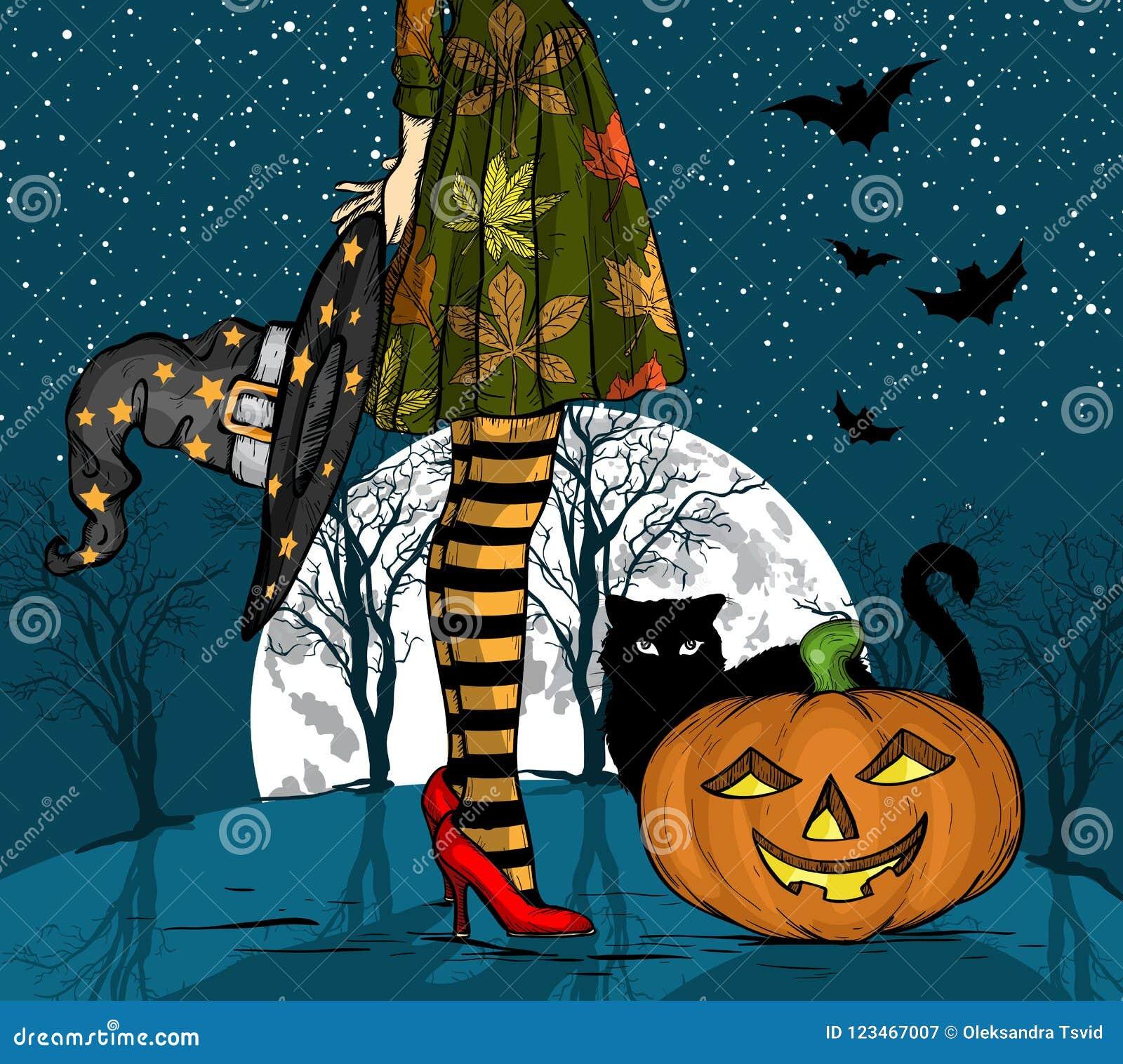 Nuit de Halloween Sorcière avec le chapeau de magicien à disposition, le chat noir et le potiron, grande lune sur le fond