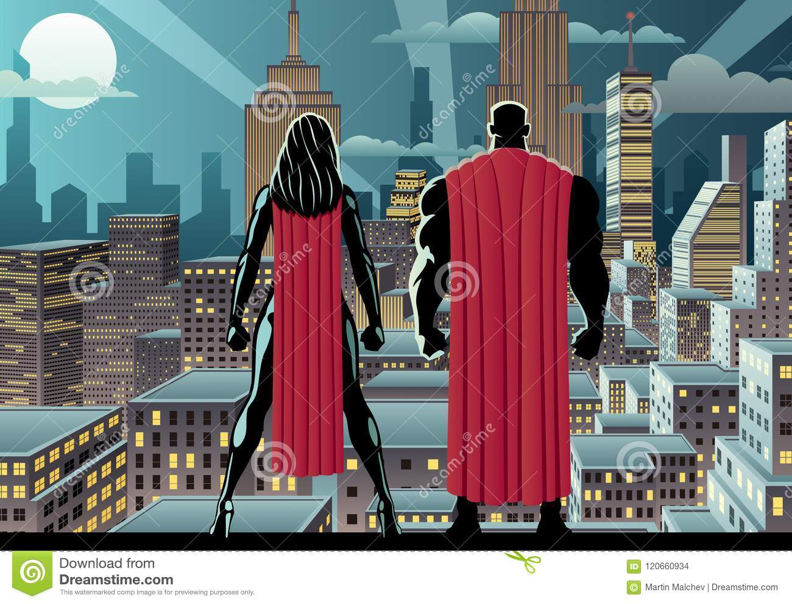 Nuit de montre de couples de super héros