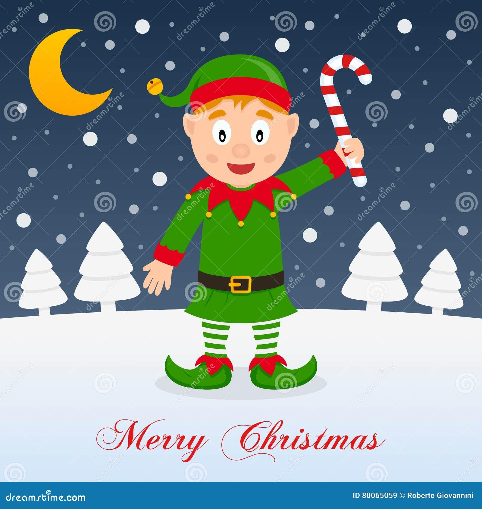 Nuit De Noel Avec La Lune Et Elf Mignon Illustration De Vecteur