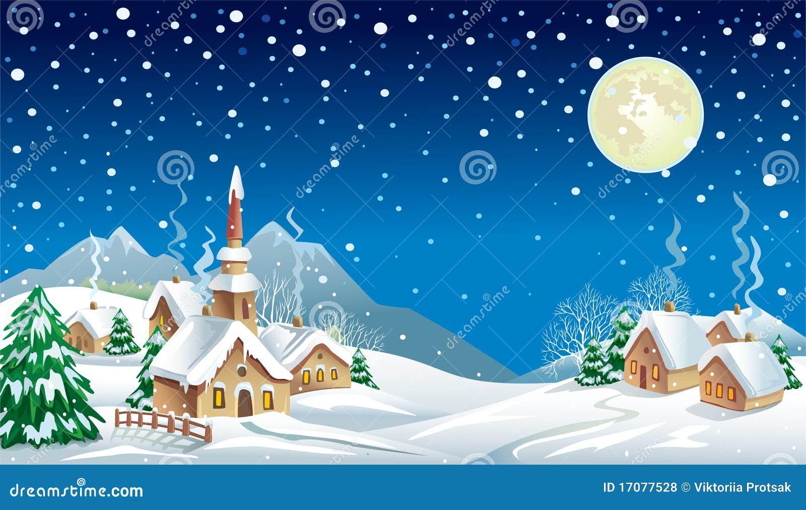Nuit de no l dans le village illustration de vecteur illustration du chemin e neige 17077528 - Village de noel dessin ...