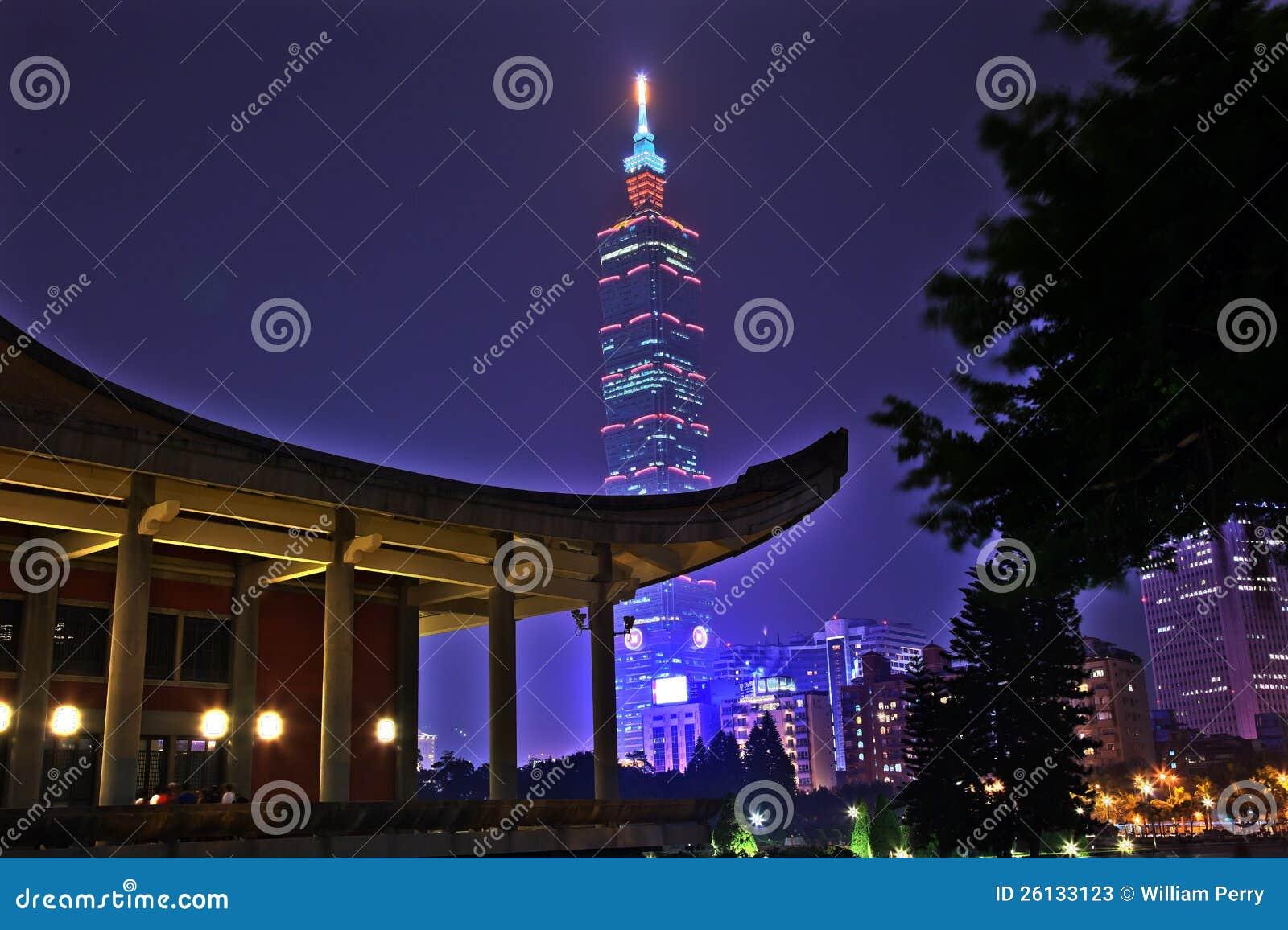 Nuit de Sun Yat-sen hall commémoratif Taïpeh Taiwan
