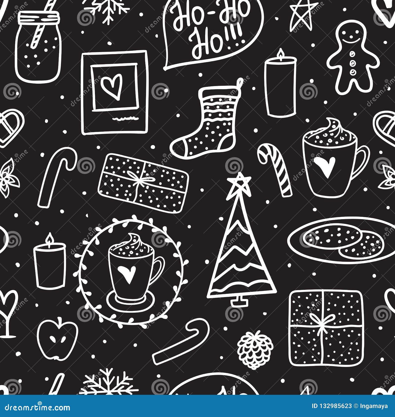Nuit Sans Couture De Joyeux Noël De Modèle De Griffonnage