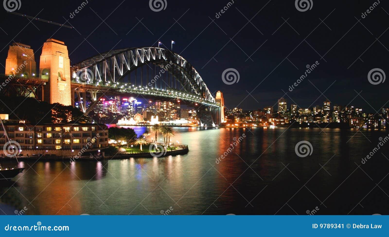 Nuit Sydney de port de passerelle de l australie