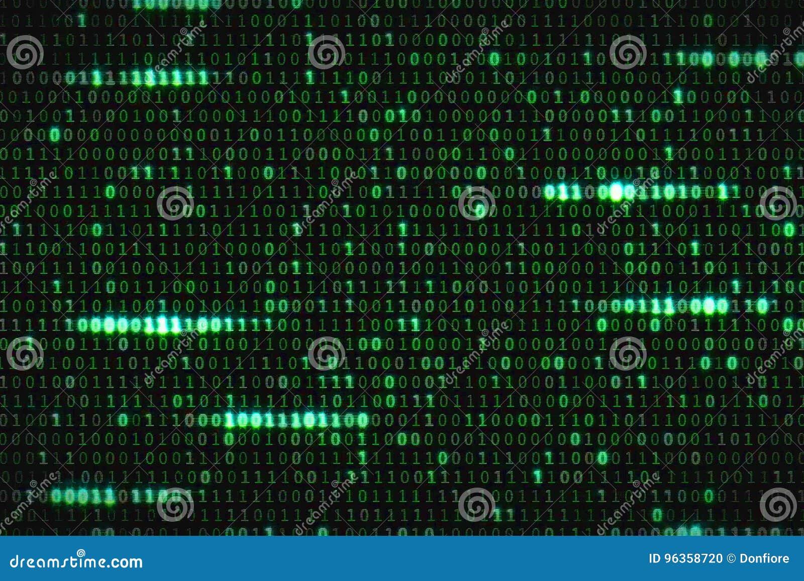 Nul één groene binaire digitale code, computer produceerde de naadloze achtergrond van de lijn abstracte motie, nieuwe technologi