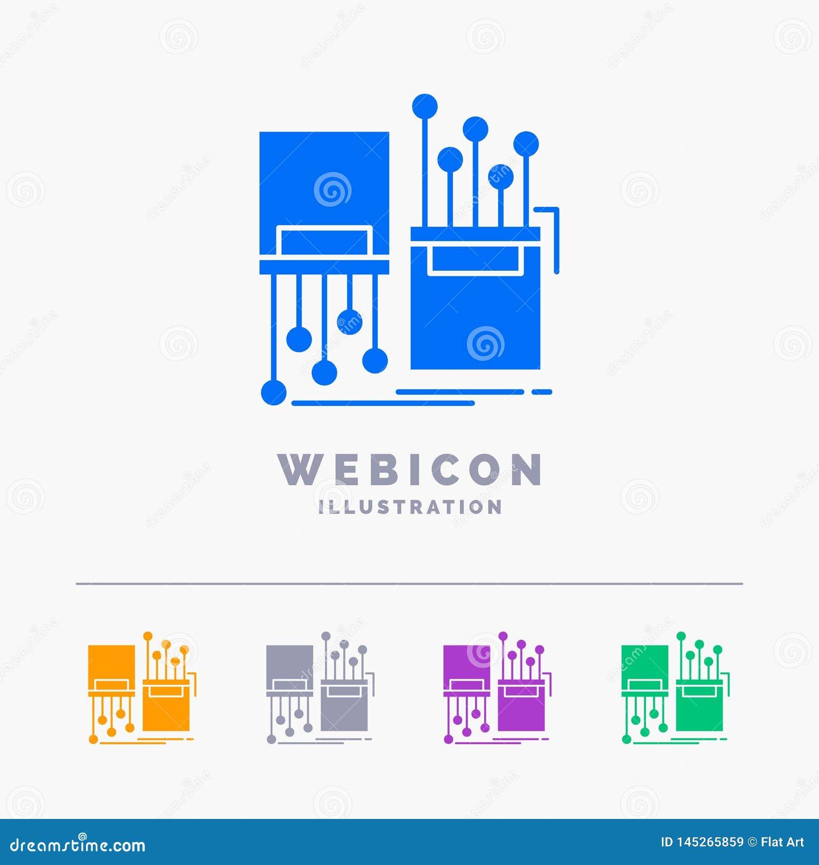 Numérique, fibre, électronique, ruelle, calibre d icône de Web de Glyph de couleur du câble 5 d isolement sur le blanc Illustrati