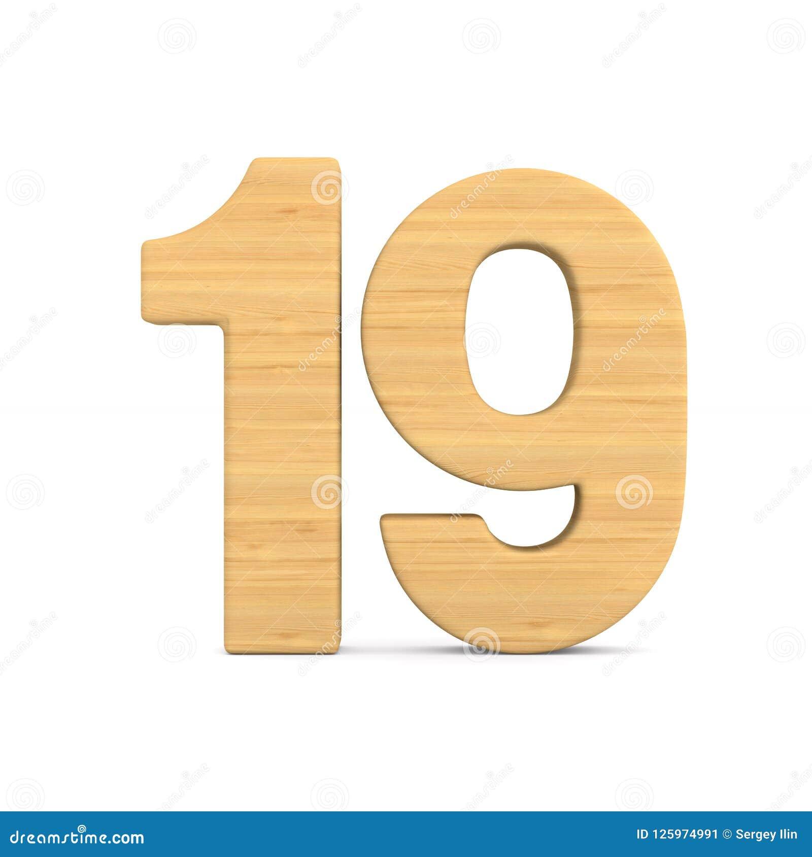 Numéro dix-neuf sur le fond blanc Illustration 3d d isolement