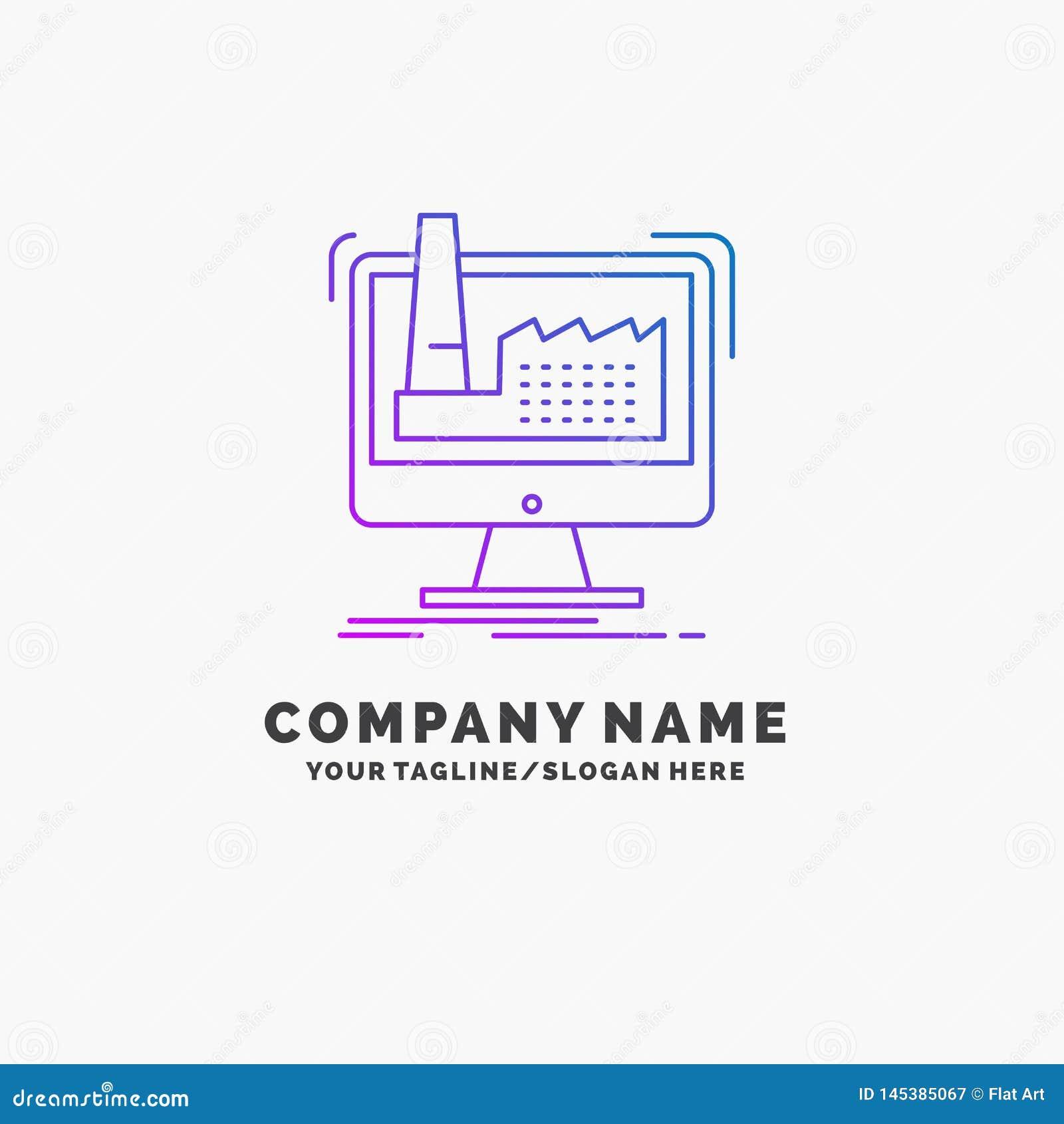 Num?rique, usine, fabrication, production, affaires pourpres Logo Template de produit Endroit pour le Tagline