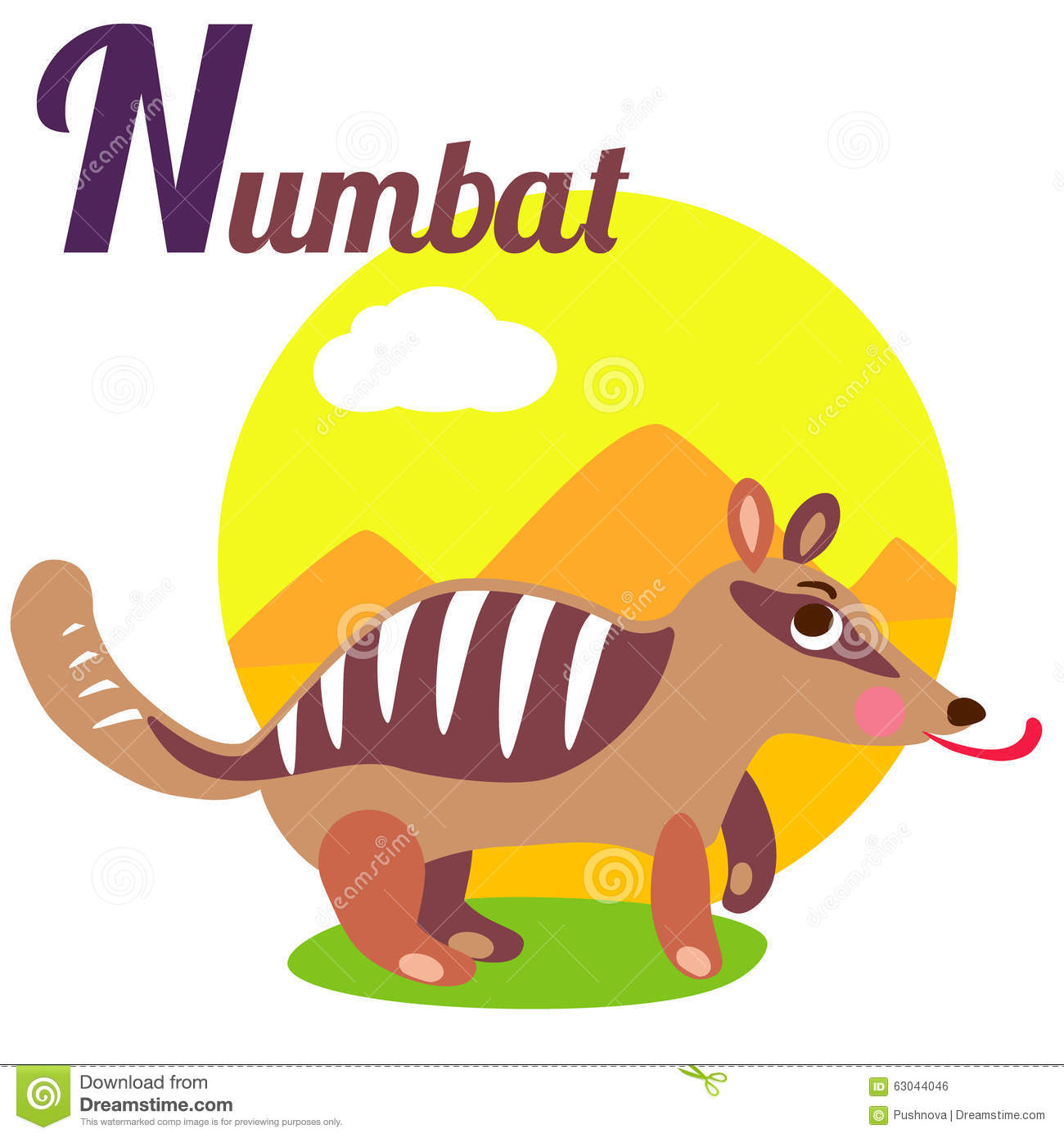 Image of: Abc Cute Animal Alphabet For Abc Book Vector Illustration Of Cartoon Numbat Letter For The Numbat Dreamstimecom Numbat Stock Vector Illustration Of Nature Latin Poster 63044046