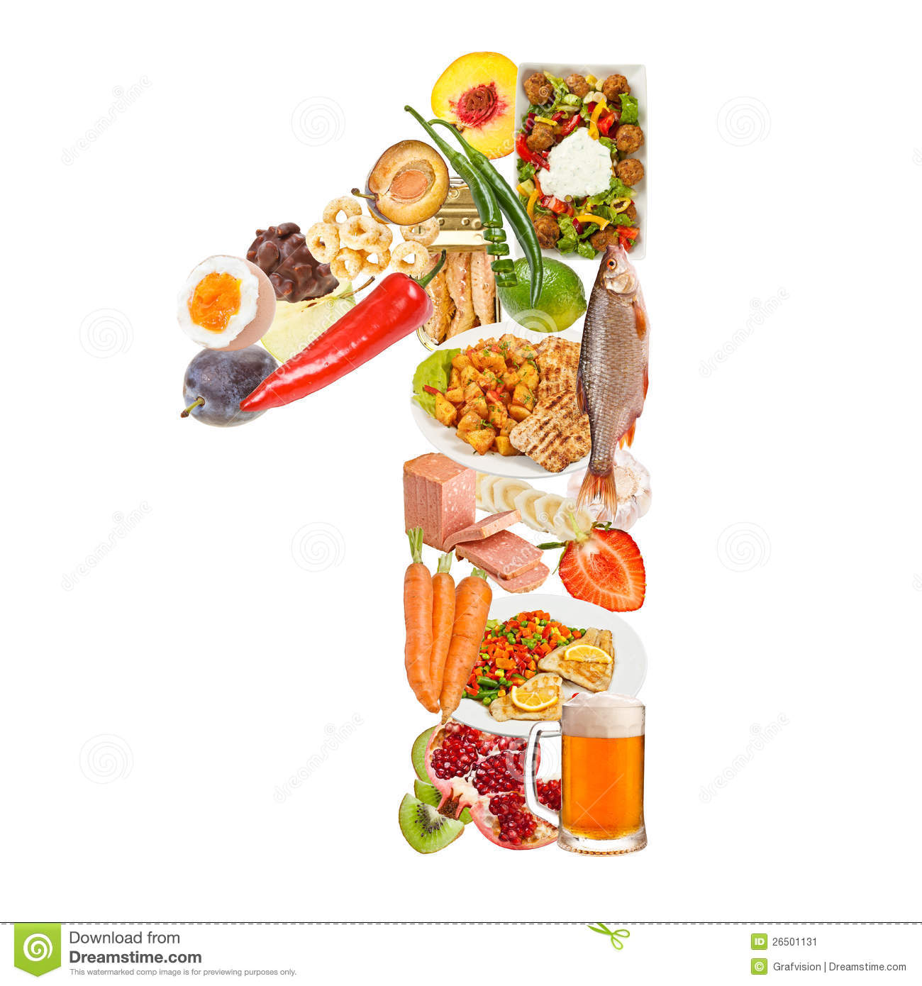 number 1 made of food stock image image 26501131