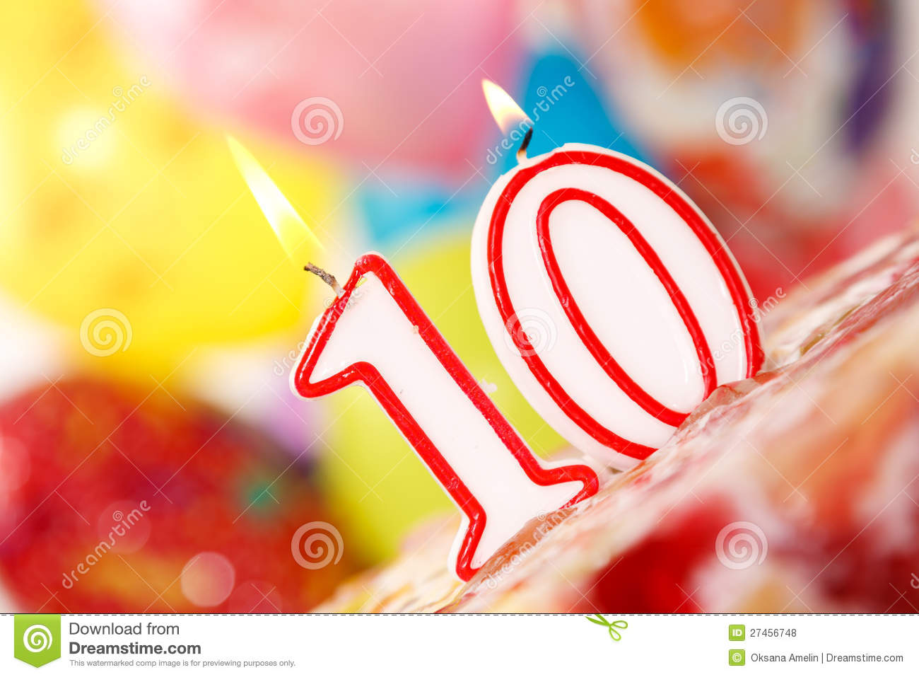 Number 10 Candle On A Cake Stock Photo Image Of Colored