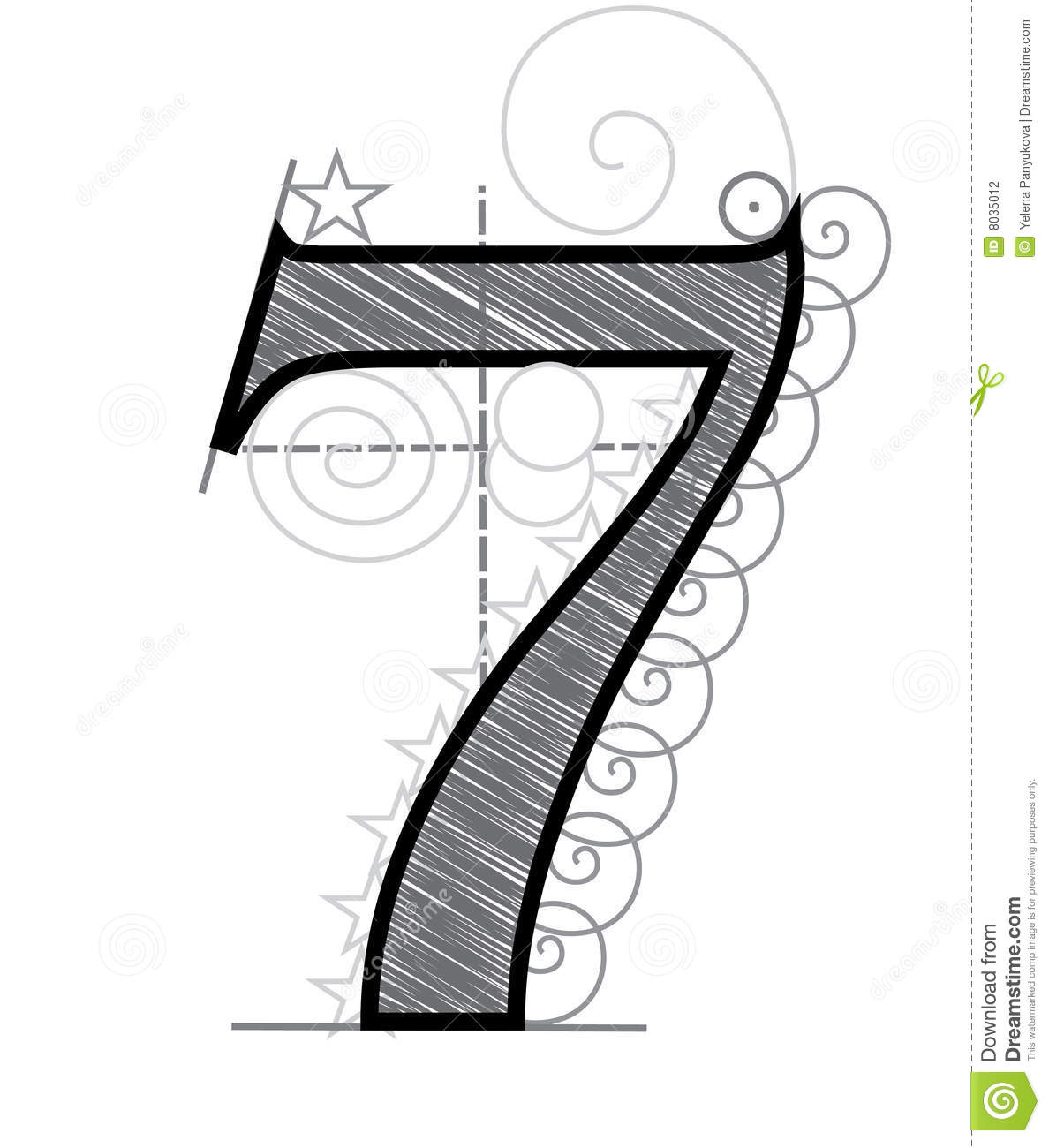 Number 7 stock vector illustration of english cross for Number 7 tattoo gallery