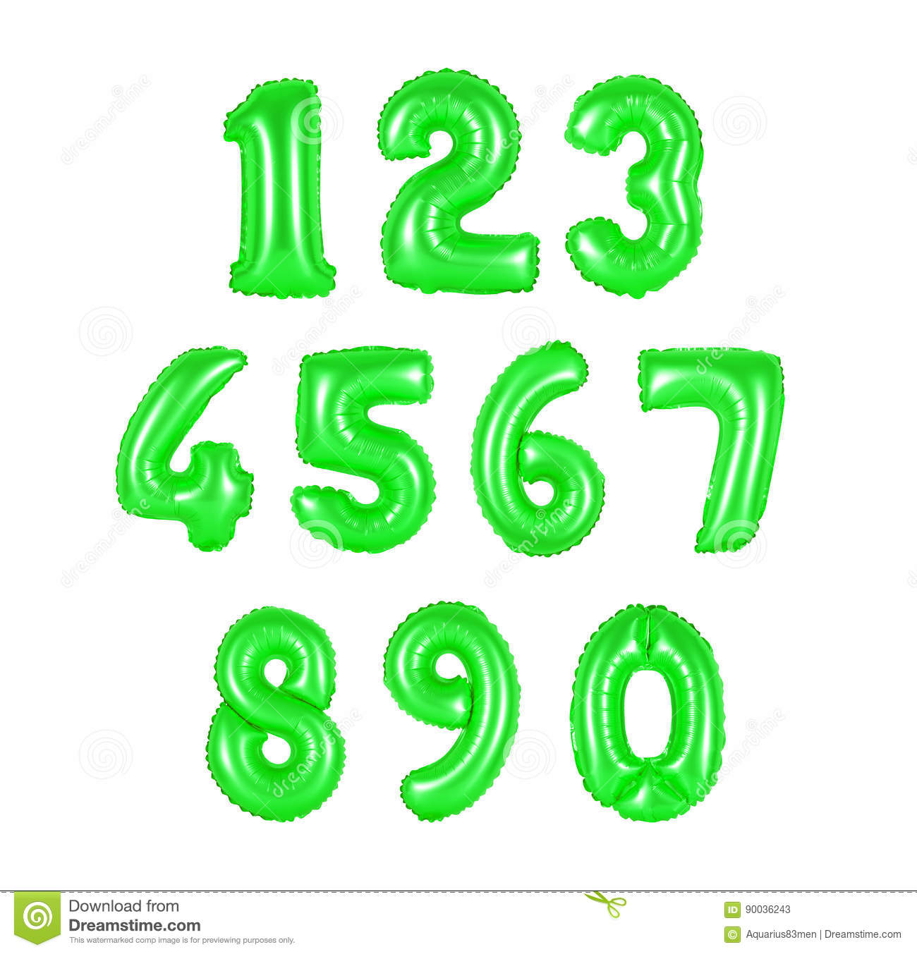 Number From Balloons Green Color Stock Image - Image: 90036243