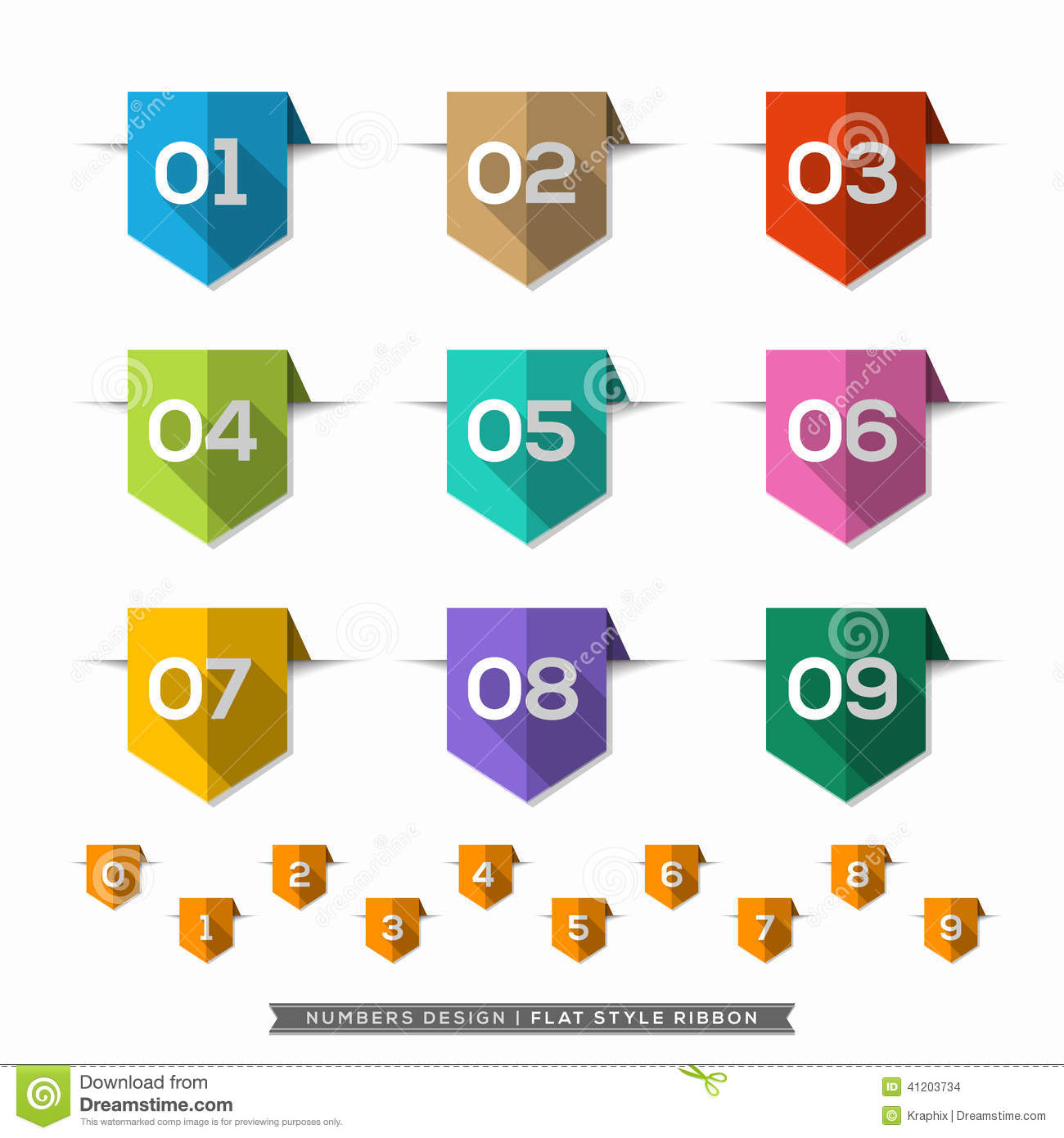 Number In Bookmark Label Long Shadow Flat Icons Set Stock