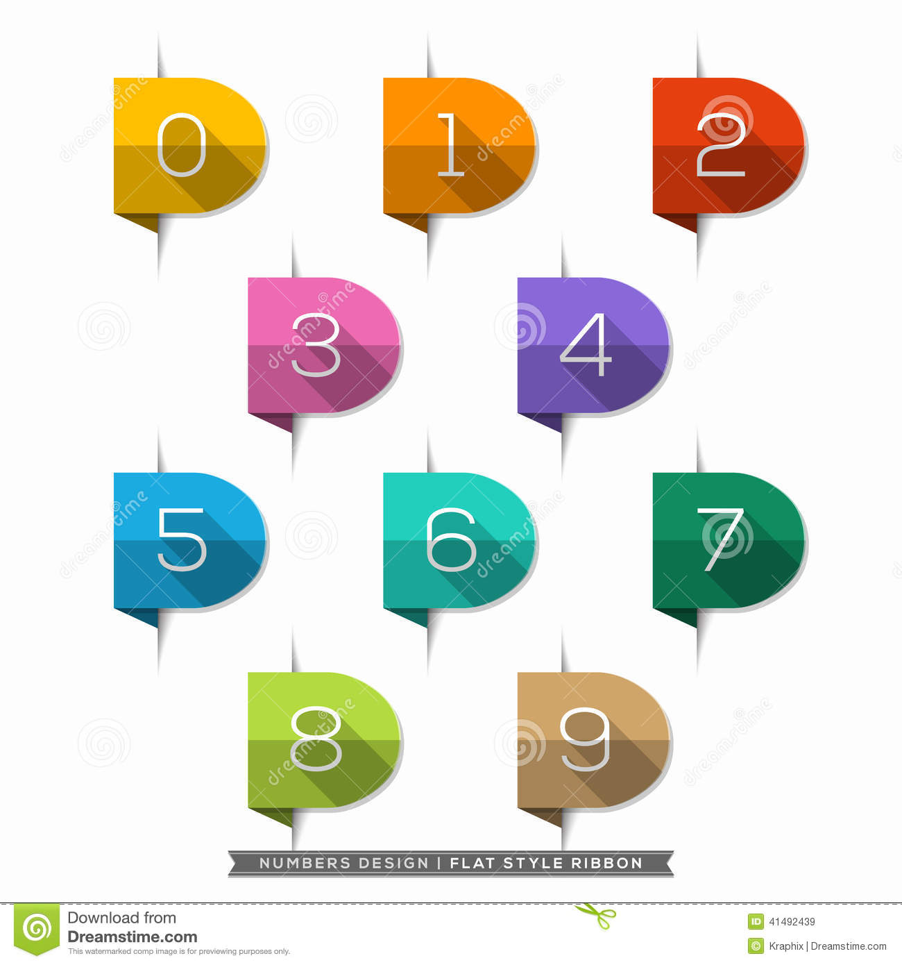 0-9 Number in Bookmark Label long shadow Flat Icons Set