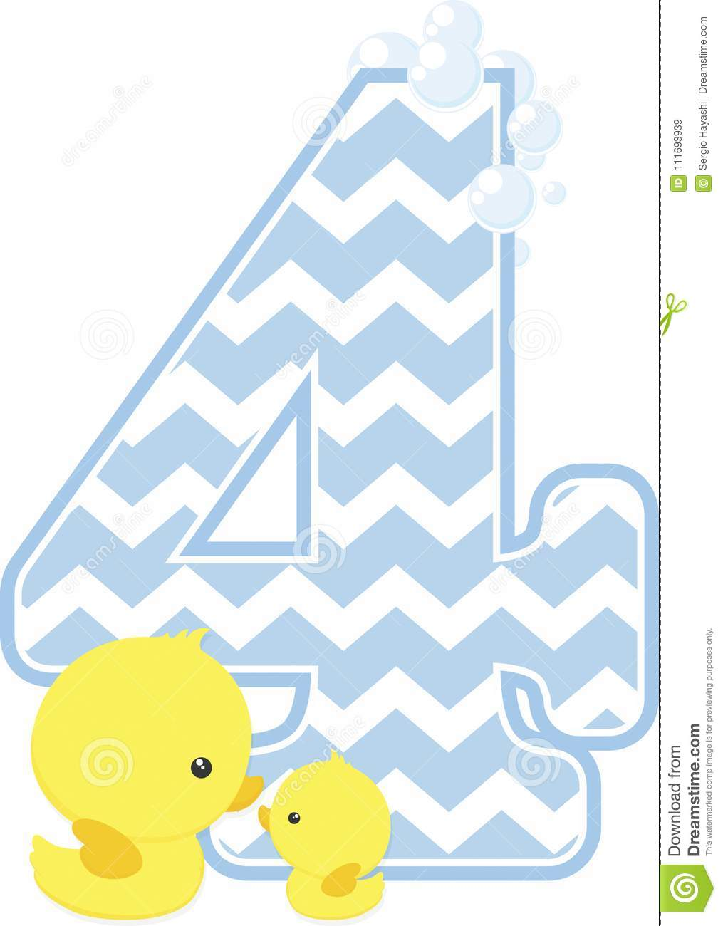 Number 4 With Bubbles And Little Baby Rubber Duck Stock Vector