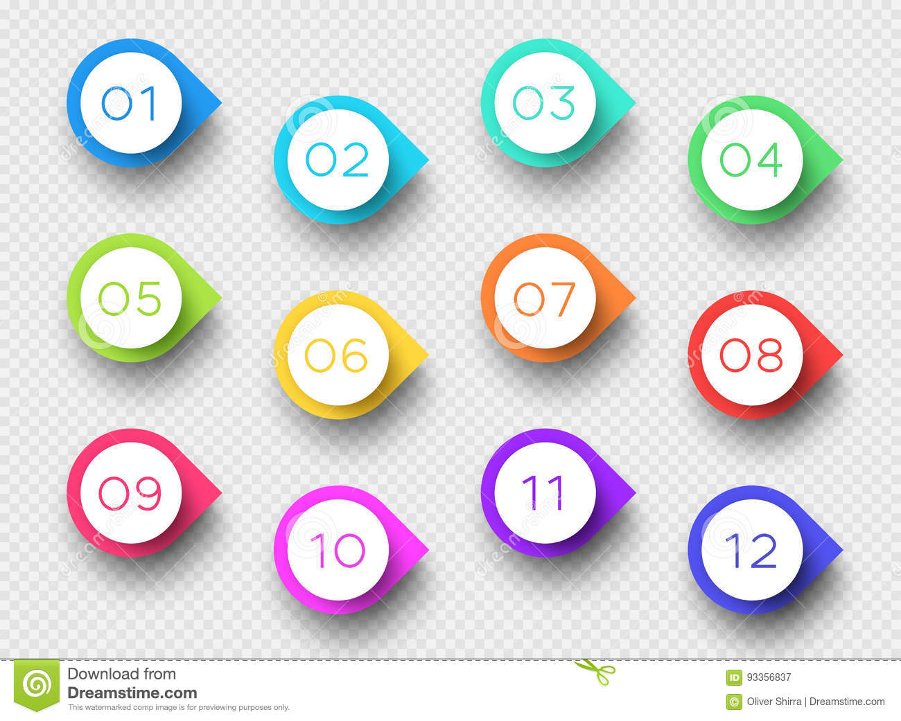 Number Bullet Point Colorful 3d Markers 1 To 12 Vector Stock Vector