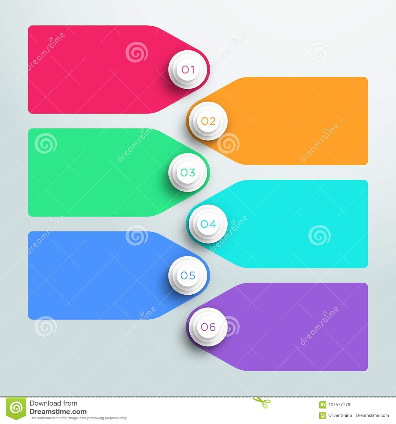 number bullet points 1 to 6 stacked with text boxes stock vector