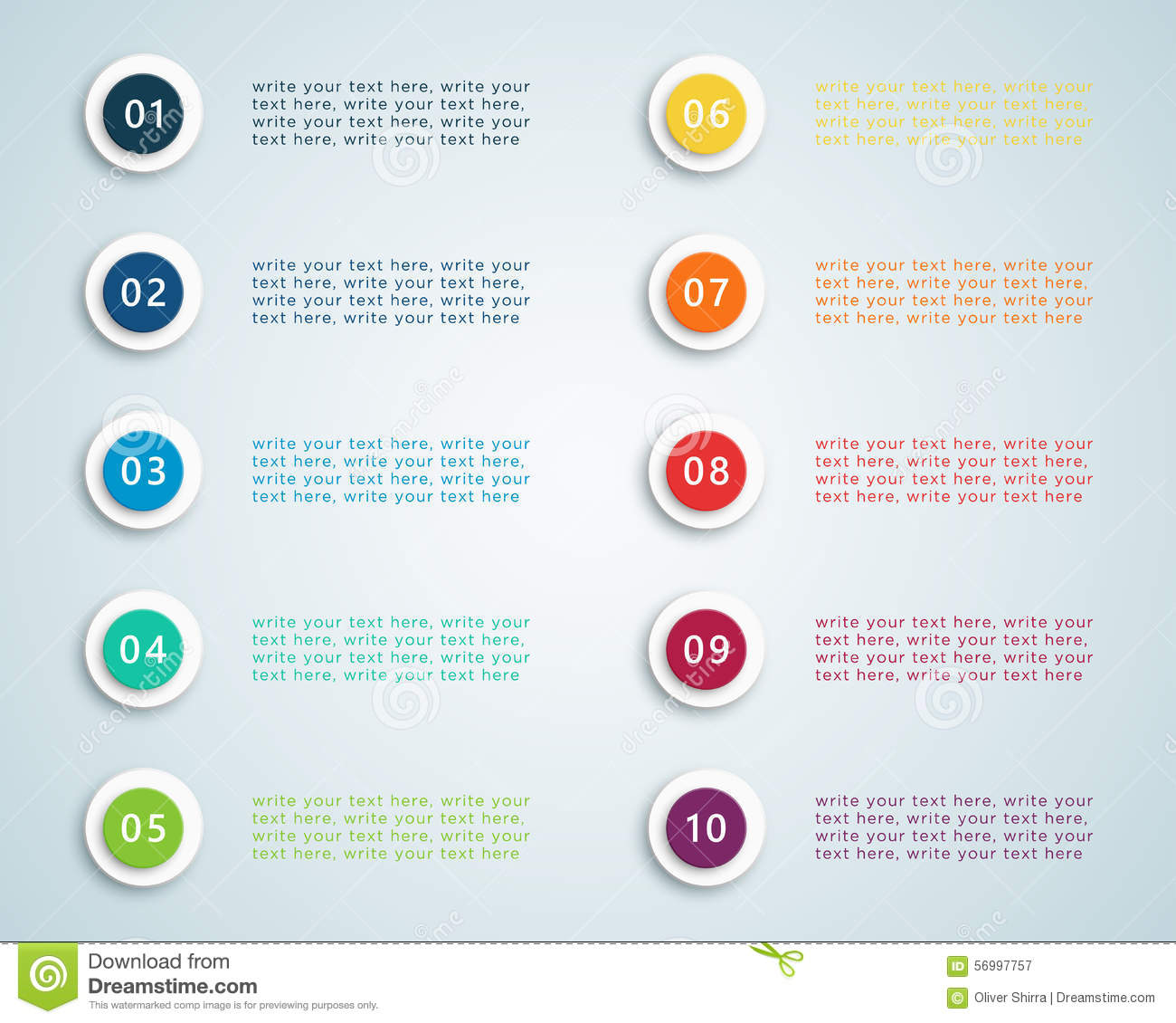 number bullet points 1 to 10 a stock vector image 68193785