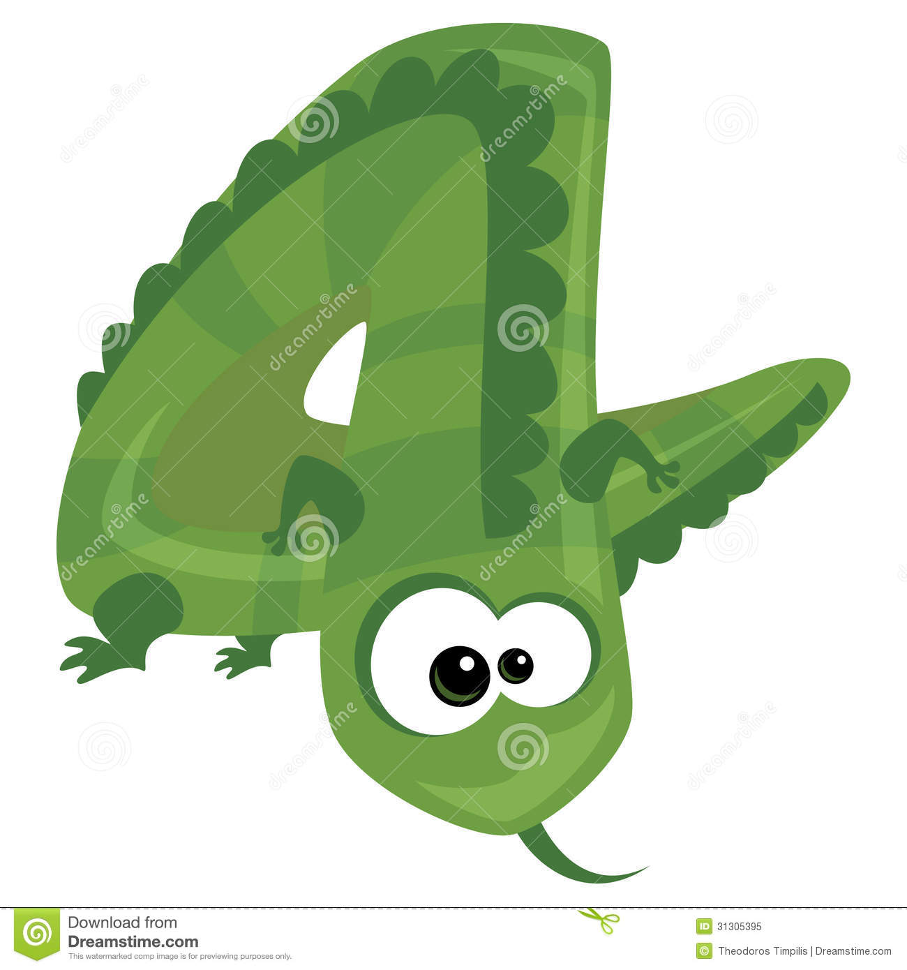 Number 4 Cartoon Funny Lizard Royalty Free Stock Photo - Image ...
