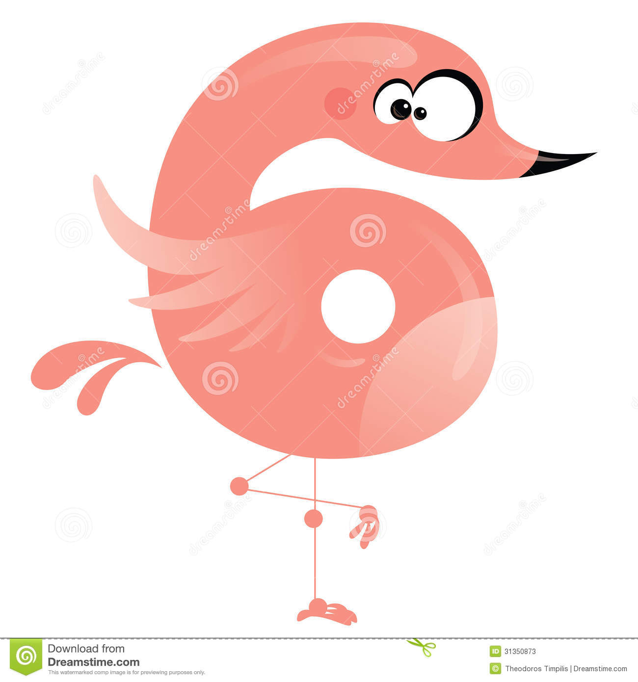 Number 6 funny flamingo standing in one leg mr no pr no 2 1785 1