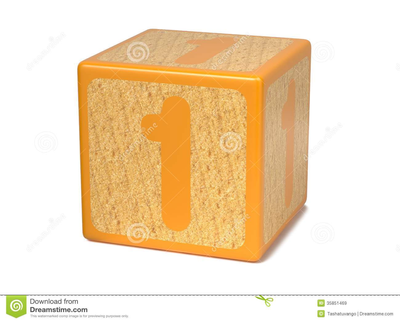 Number 1 Childrens Alphabet Block Royalty Free Stock
