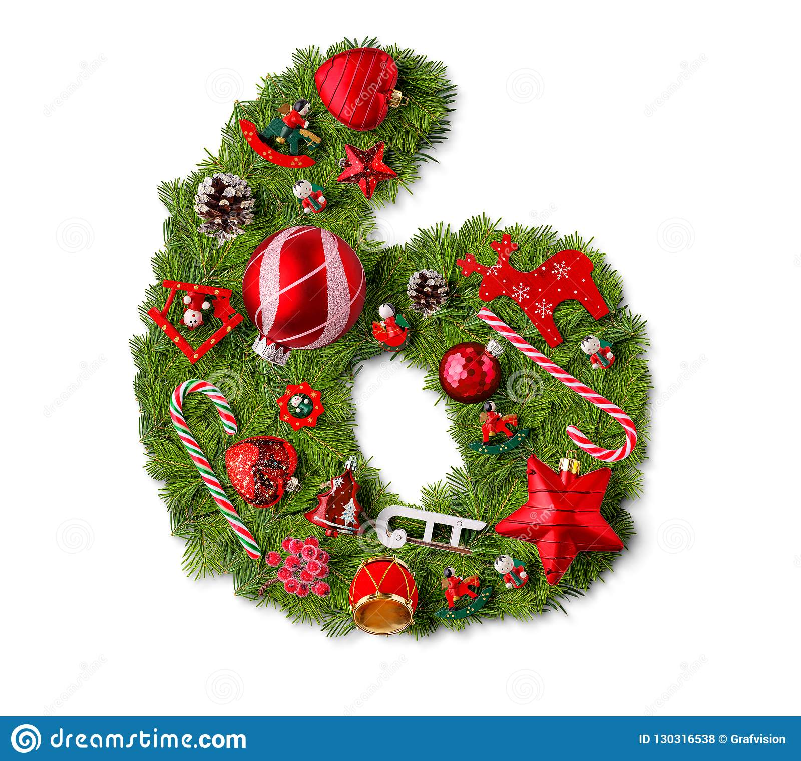 Number 6 Christmas Tree Decoration Stock Photo Image Of Decorative Branch 130316538