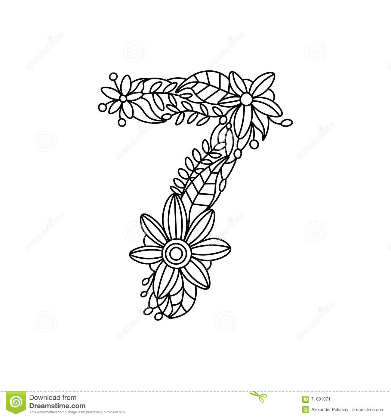 number 7 coloring book for adults vector stock vector image