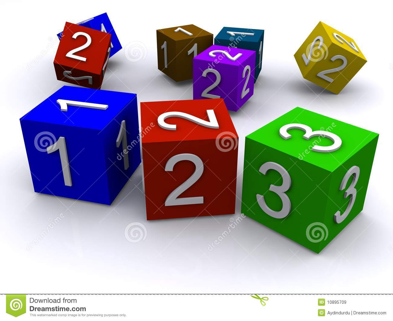 Number Cubes Royalty Free Stock Images - Image: 10895709