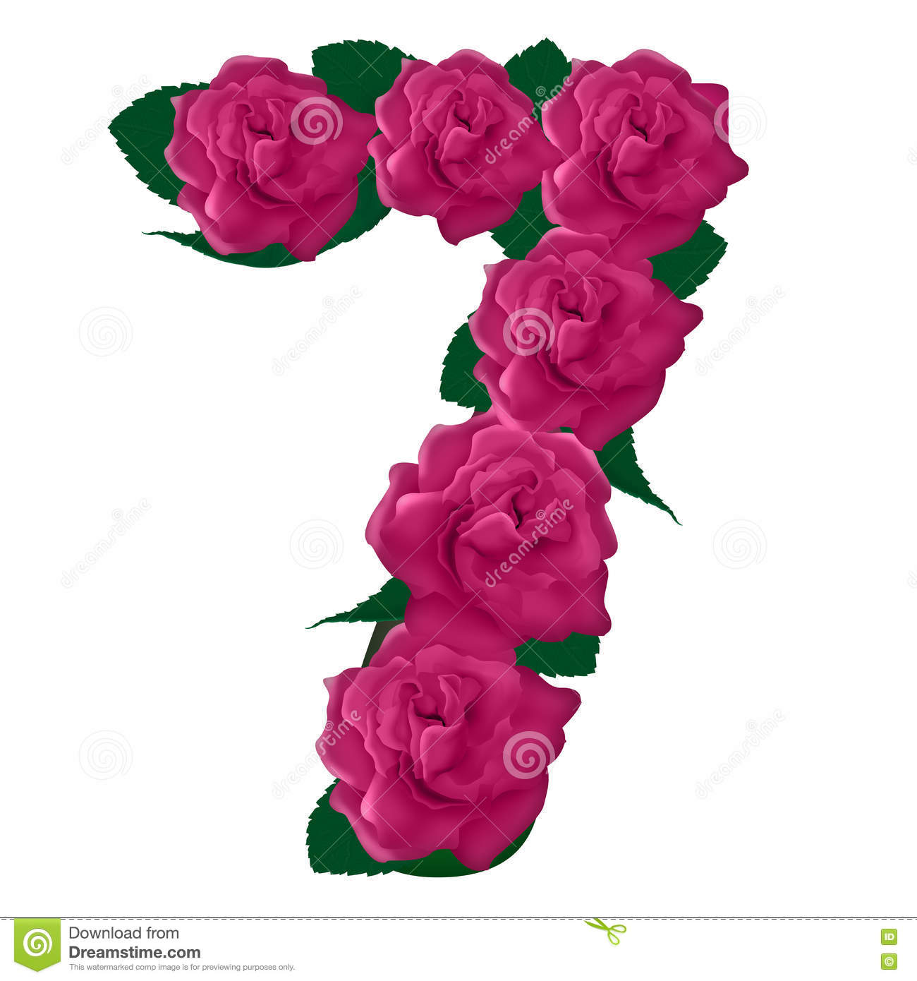 Number 7 Cute Pink Roses Illustration Stock Photo