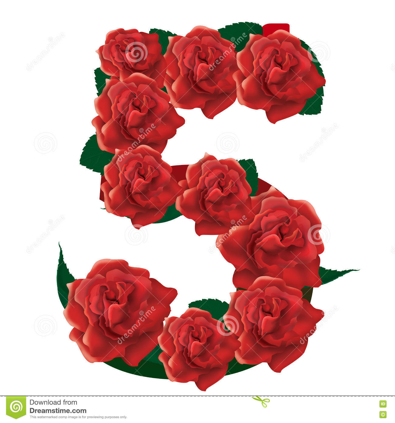 Number 5 Cute Roses Floral Illustration Stock Photo