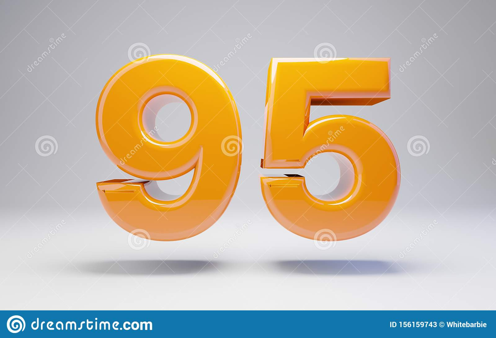 Number 95  3d Orange Glossy Number Isolated On White