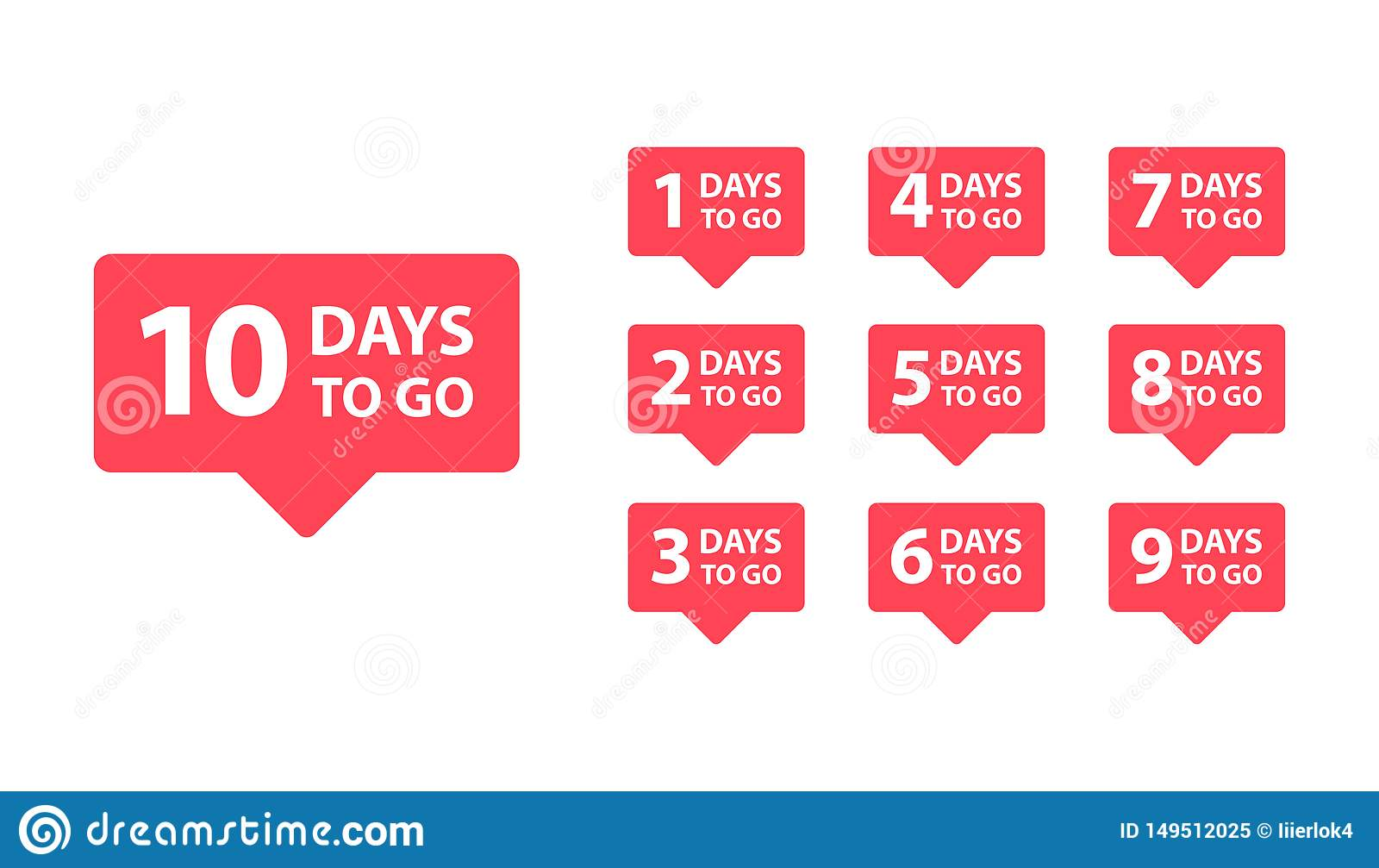 Number 1, 2, 3, 4, 5, 6, 7, 8, 9, 10, of days left to go. Collection badges sale, landing page, banner