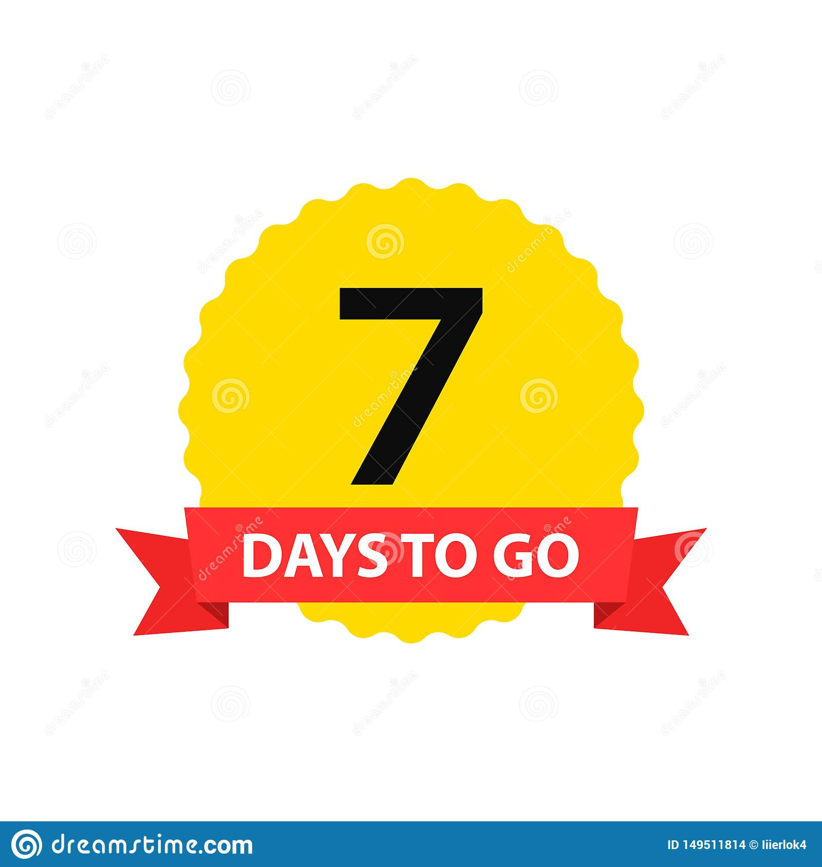 Number 7 of days to go. Collection badges sale, landing page, banner.Vector illustration