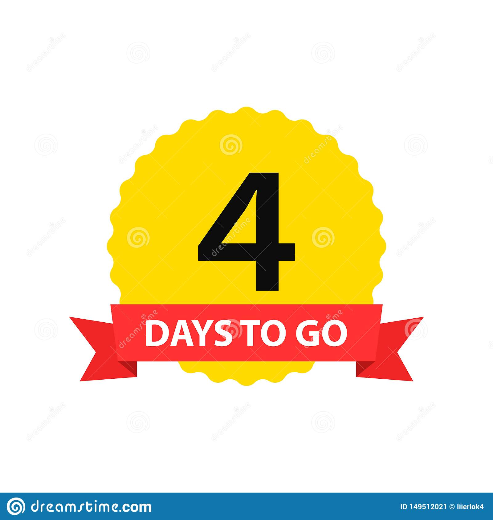Number 4 of days to go. Collection badges sale, landing page, banner.Vector illustration