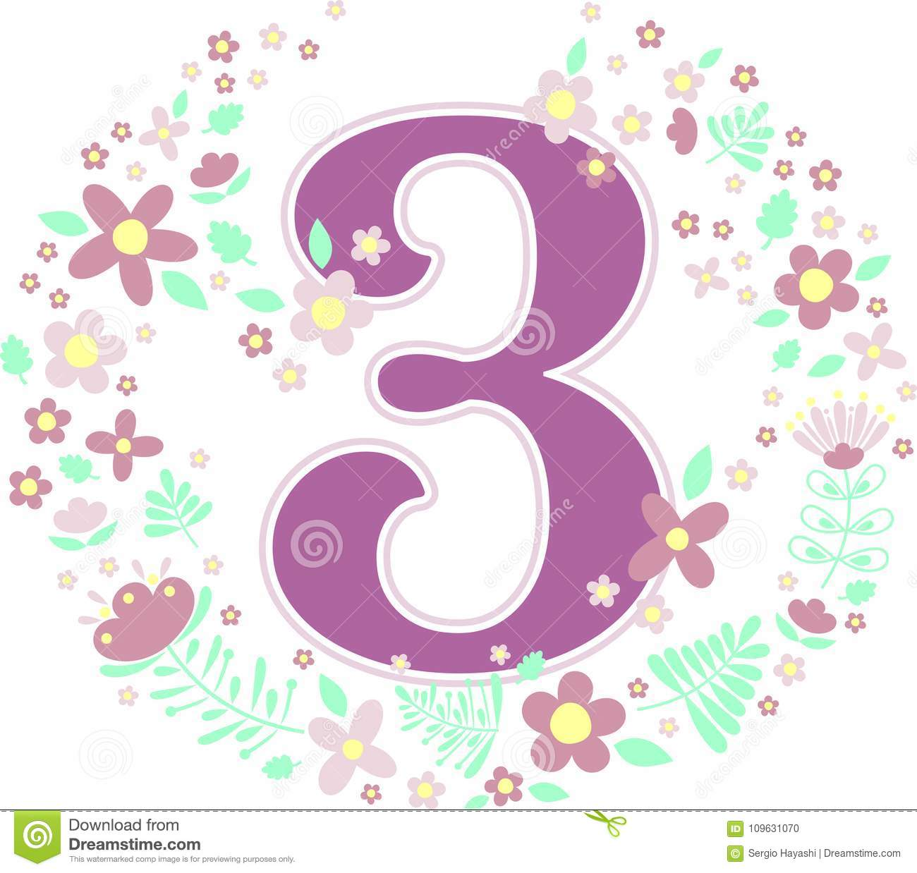 Number 3 With Decorative Flowers Stock Vector