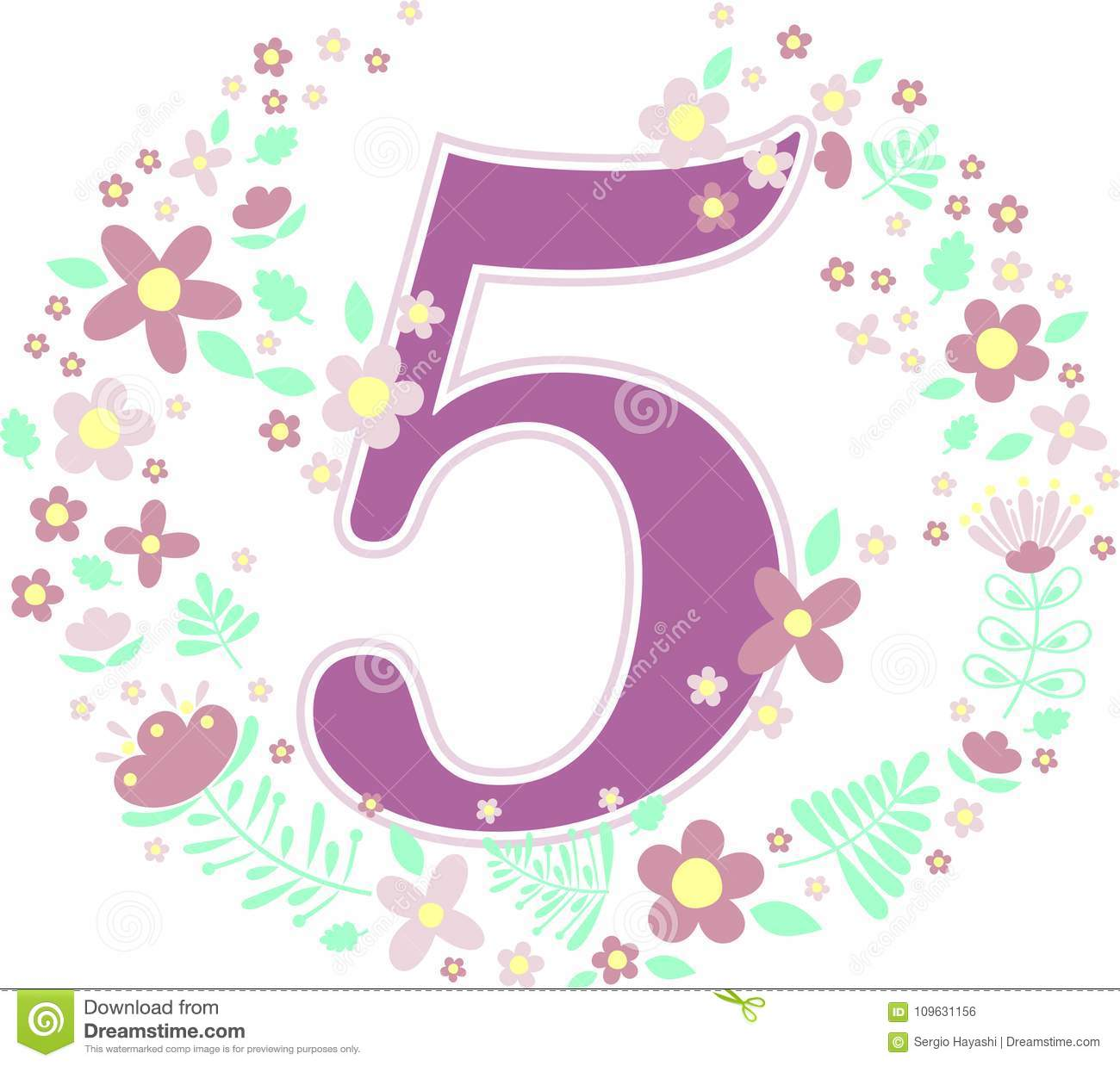 Number 5 With Decorative Flowers And Design Elements Isolated On White Background Can Be Used For Baby Girl Birthagebirthday Nursery Decoration