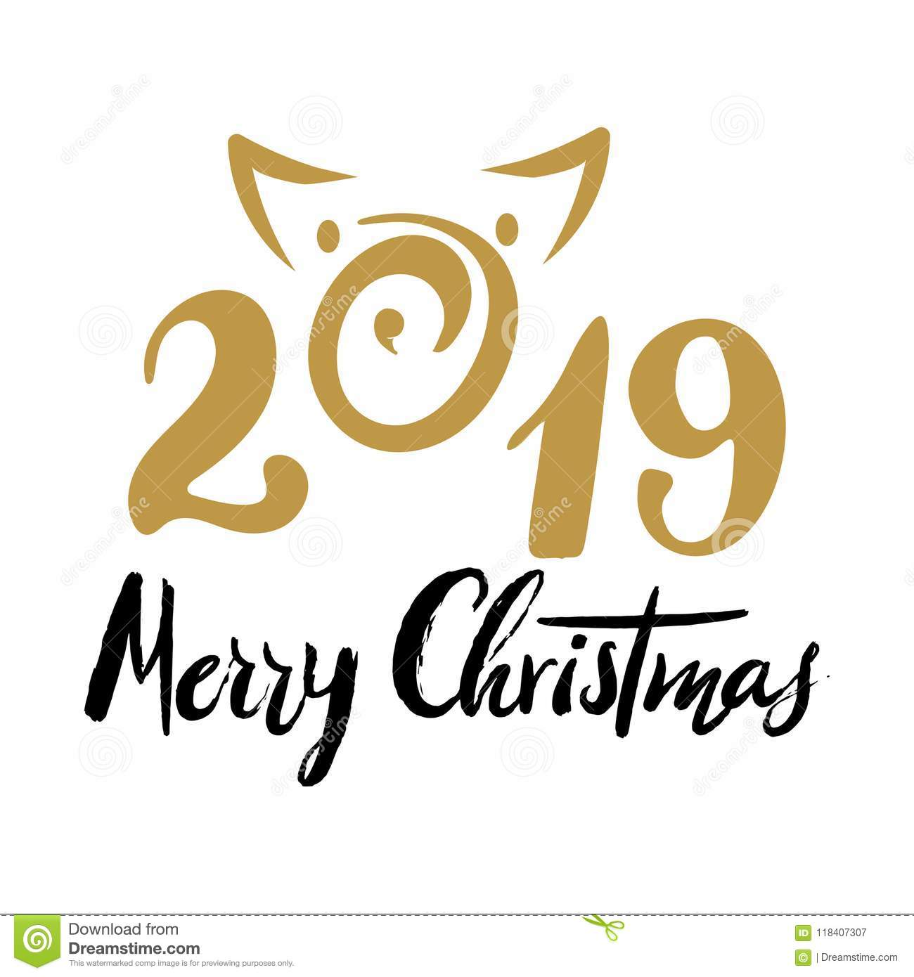 2019 Number For Designing New Year And Merry Christmas Card Poster Banner Organizer Stock Illustration Illustration Of Collection Grunge 118407307